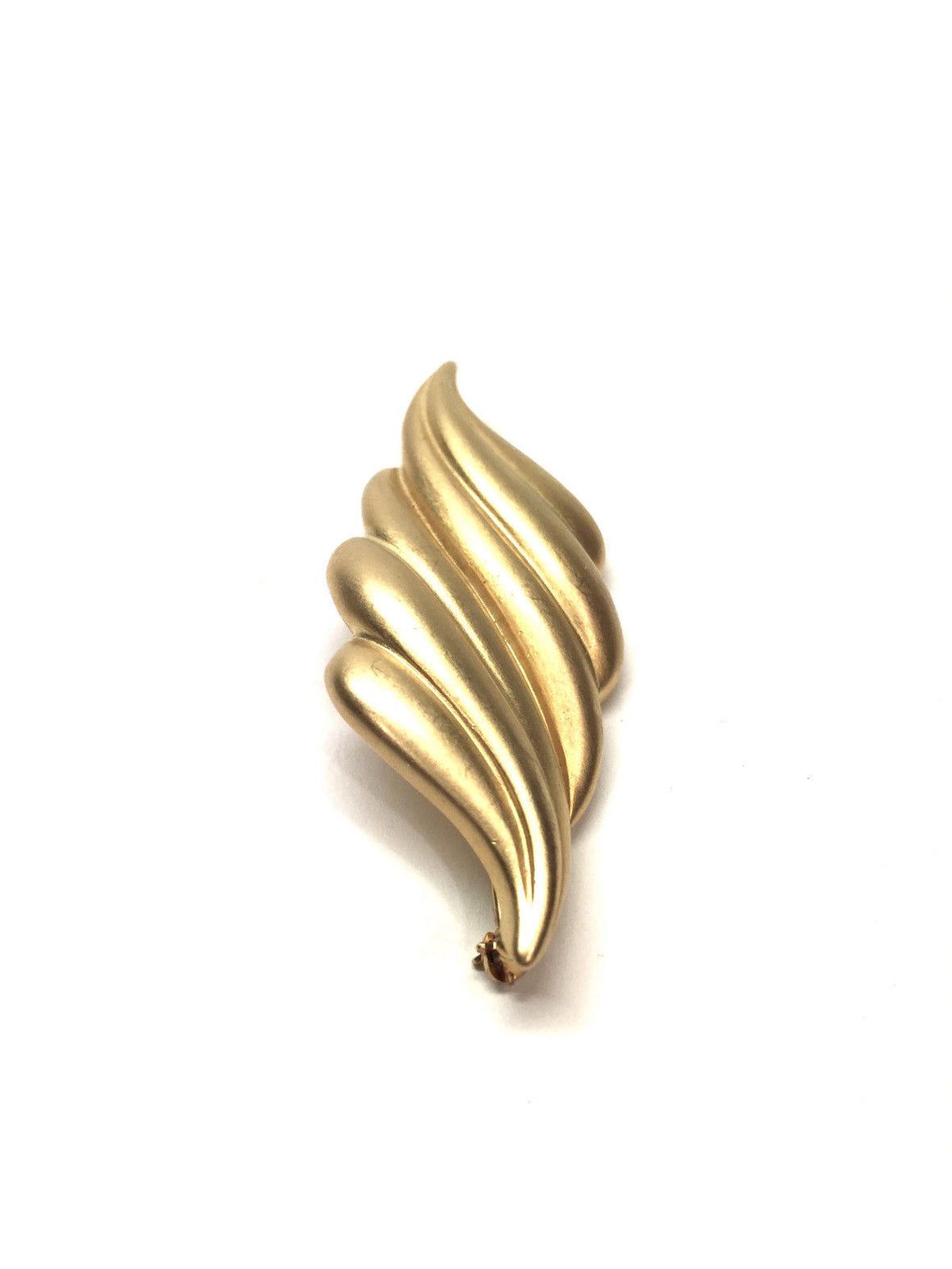 bisbiz.com ERWIN PEARL Opaque Gold-Tone Swirled Double Leaf Pin/Brooch - Bis Luxury Resale