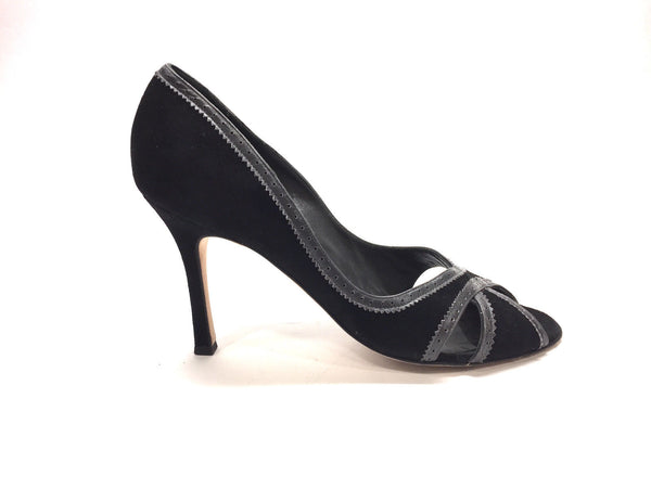 c0f2046e9d32 MANOLO BLAHNIK Black Suede Gray Leather Trim Peep-Toe Heel Pumps Size  -  Bis Designer Resale