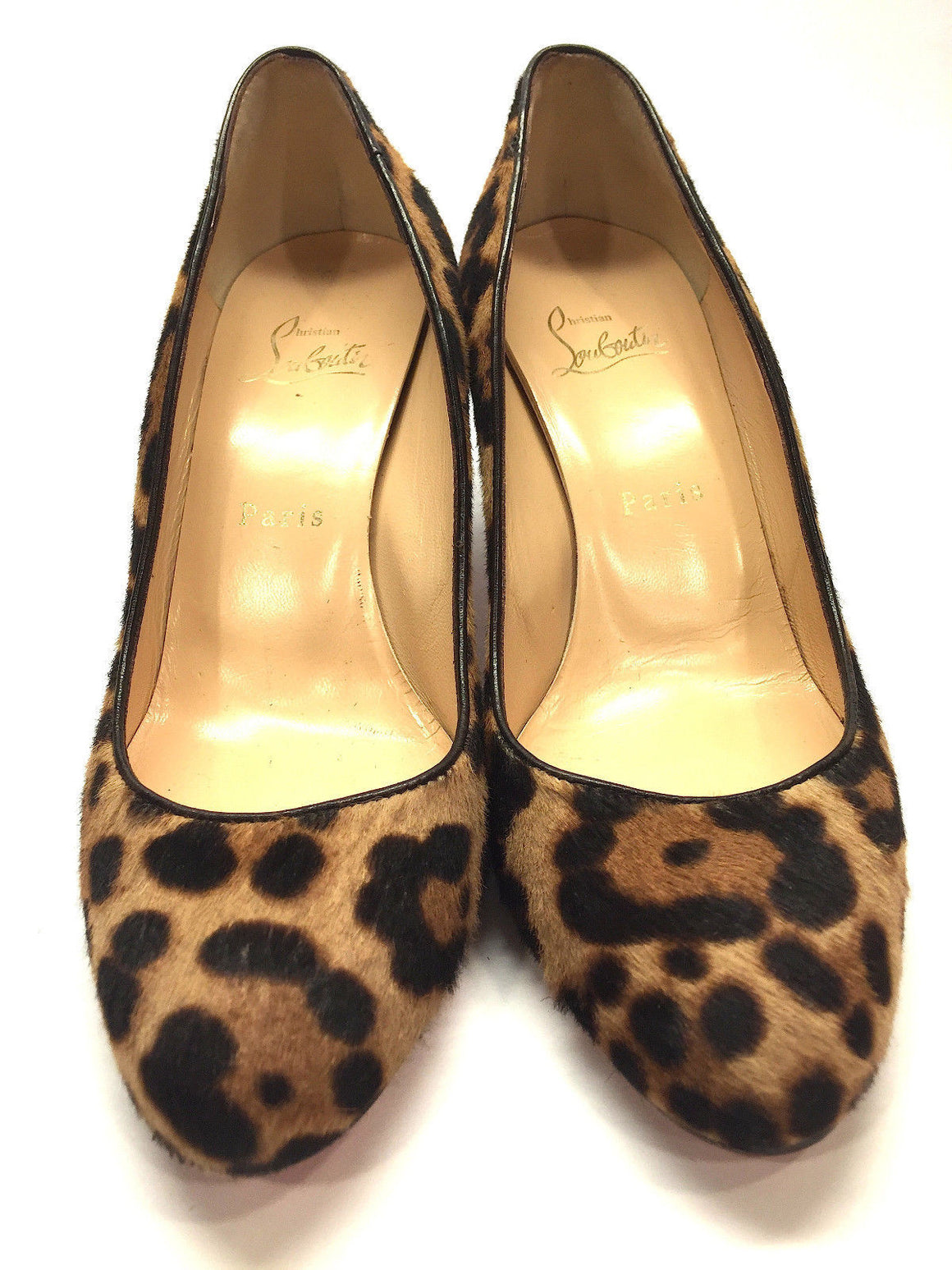 bisbiz.com CHRISTIAN LOUBOUTIN  Tan/Brown Animal-Print Calf Hair Rounded-Toe  Heel Pumps Shoes  Size: 37 / 7 - Bis Luxury Resale