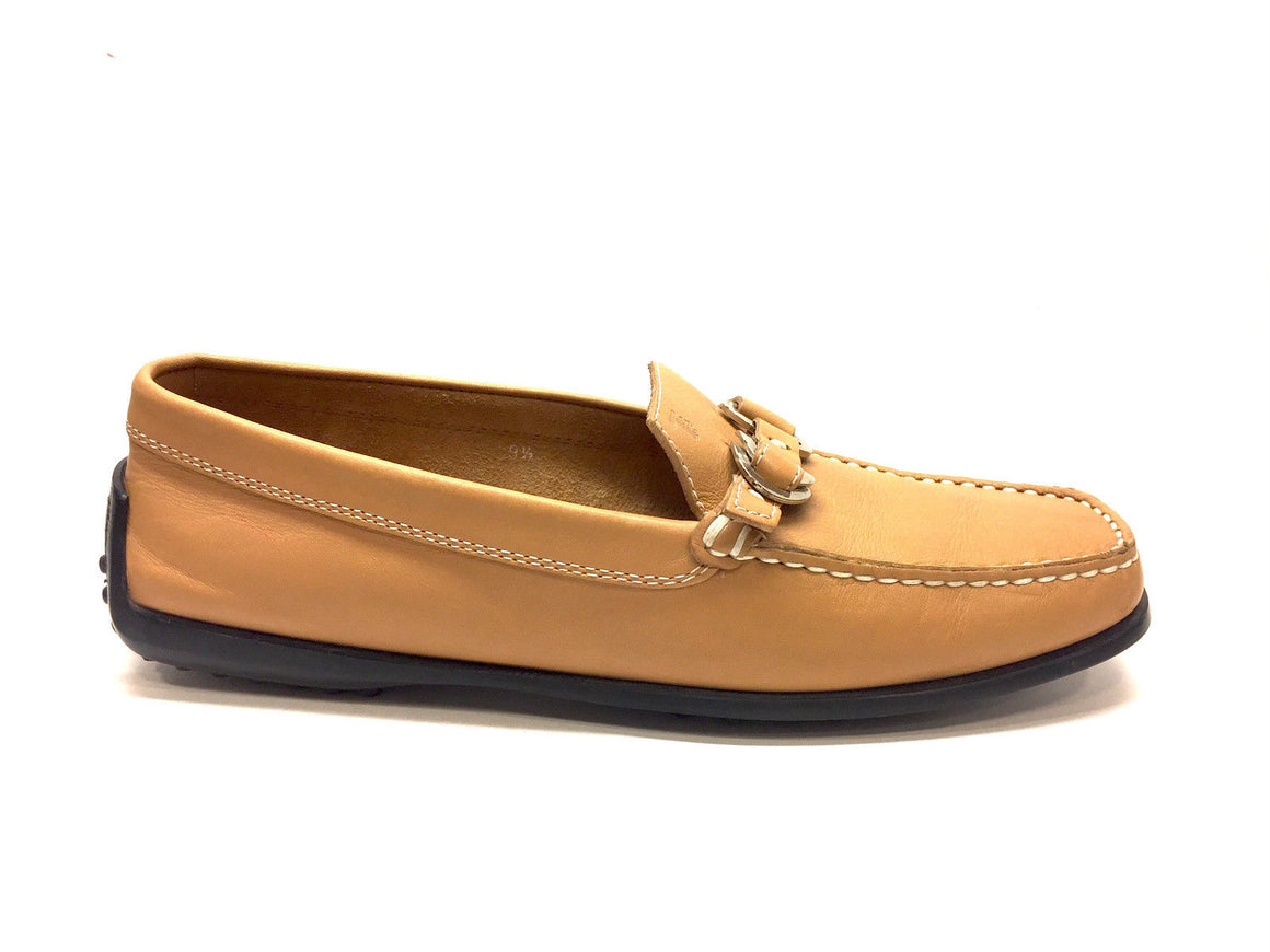 TOD'S Golden Tan Leather Gommino Driving Loafers Moccasins Shoes  Size: 9.5