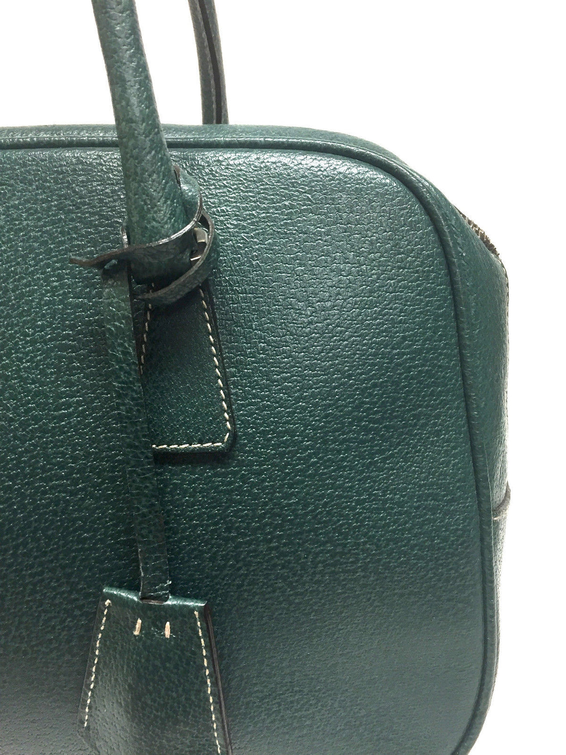 PRADA Green Textured Leather Zip-Top Hand Bag Satchel