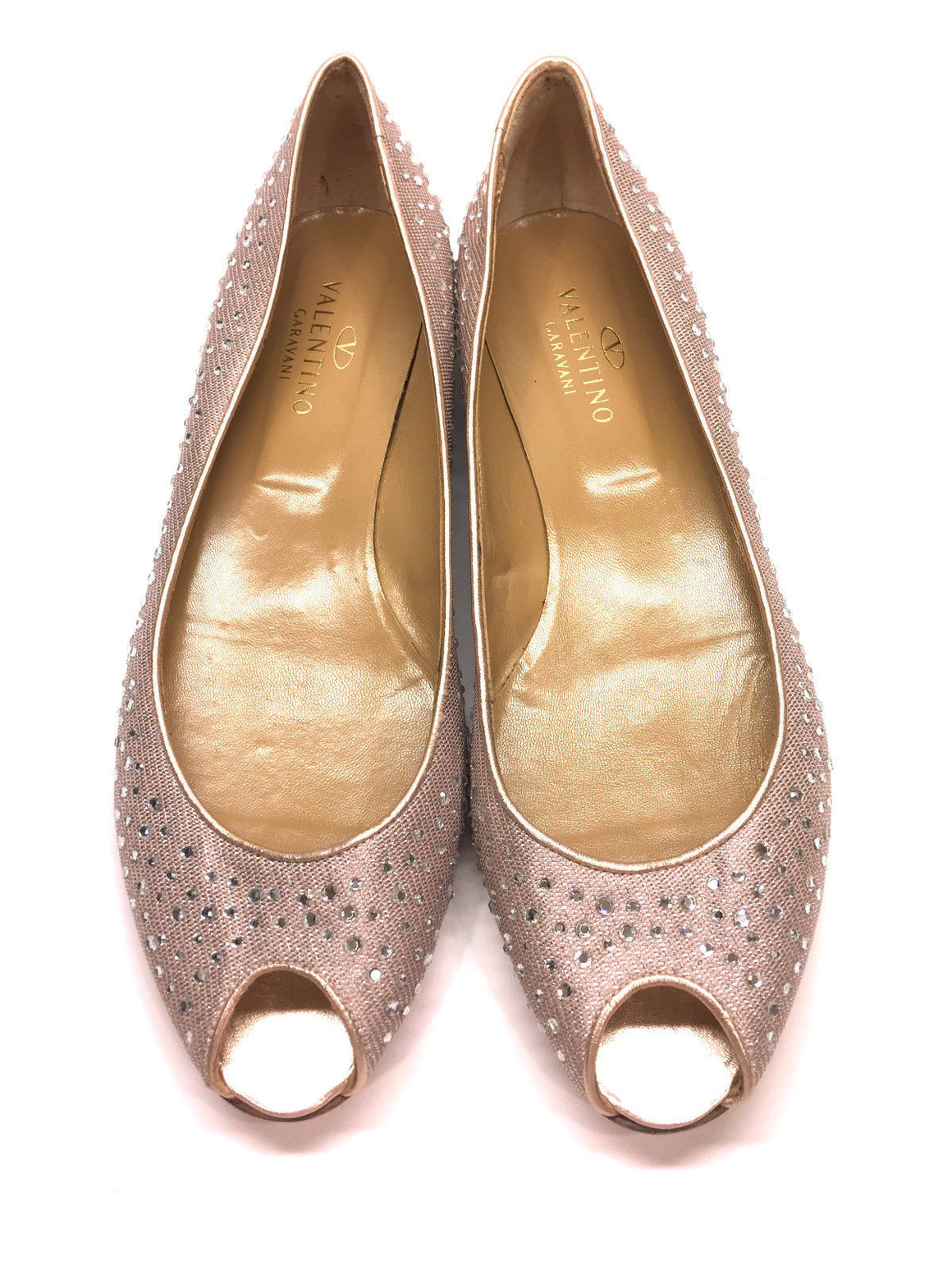 bisbiz.com VALENTINO GARAVANI Crystal-Studded Rose-Quartz Pink Peep-Toe Flats Shoes Size: 41.5/11 - Bis Luxury Resale