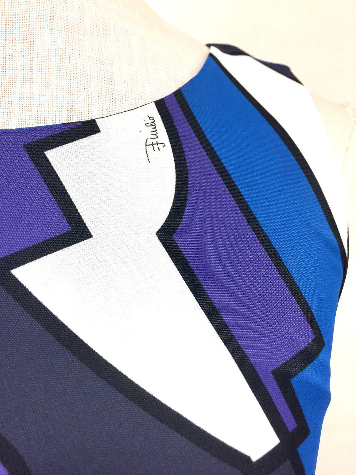bisbiz.com EMILIO PUCCI Purple/Royal-Blue/White Large Geo Print Viscose Sleeveless Dress Size: IT38/US4=XS - Bis Luxury Resale