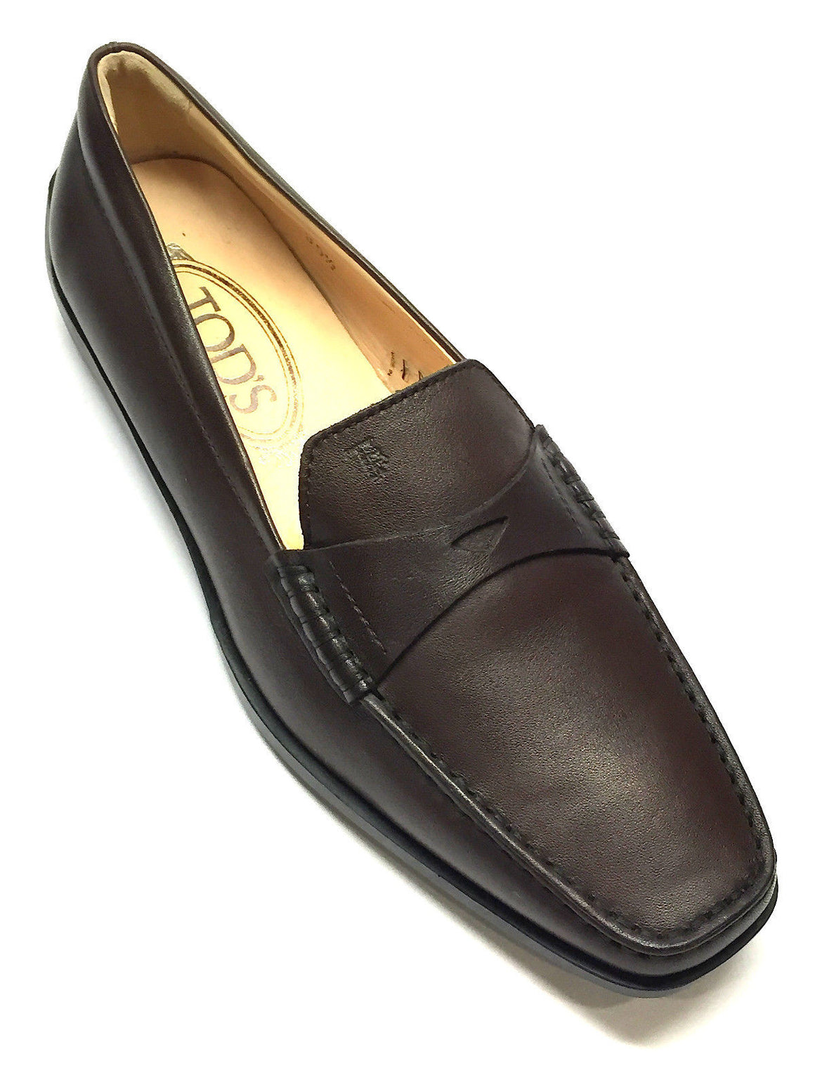 bisbiz.com Tod's  New  Gommino Brown Leather Black Rubber Soles  Penny Driving Loafers Shoes  Size: 35.5/5.5 - Bis Luxury Resale