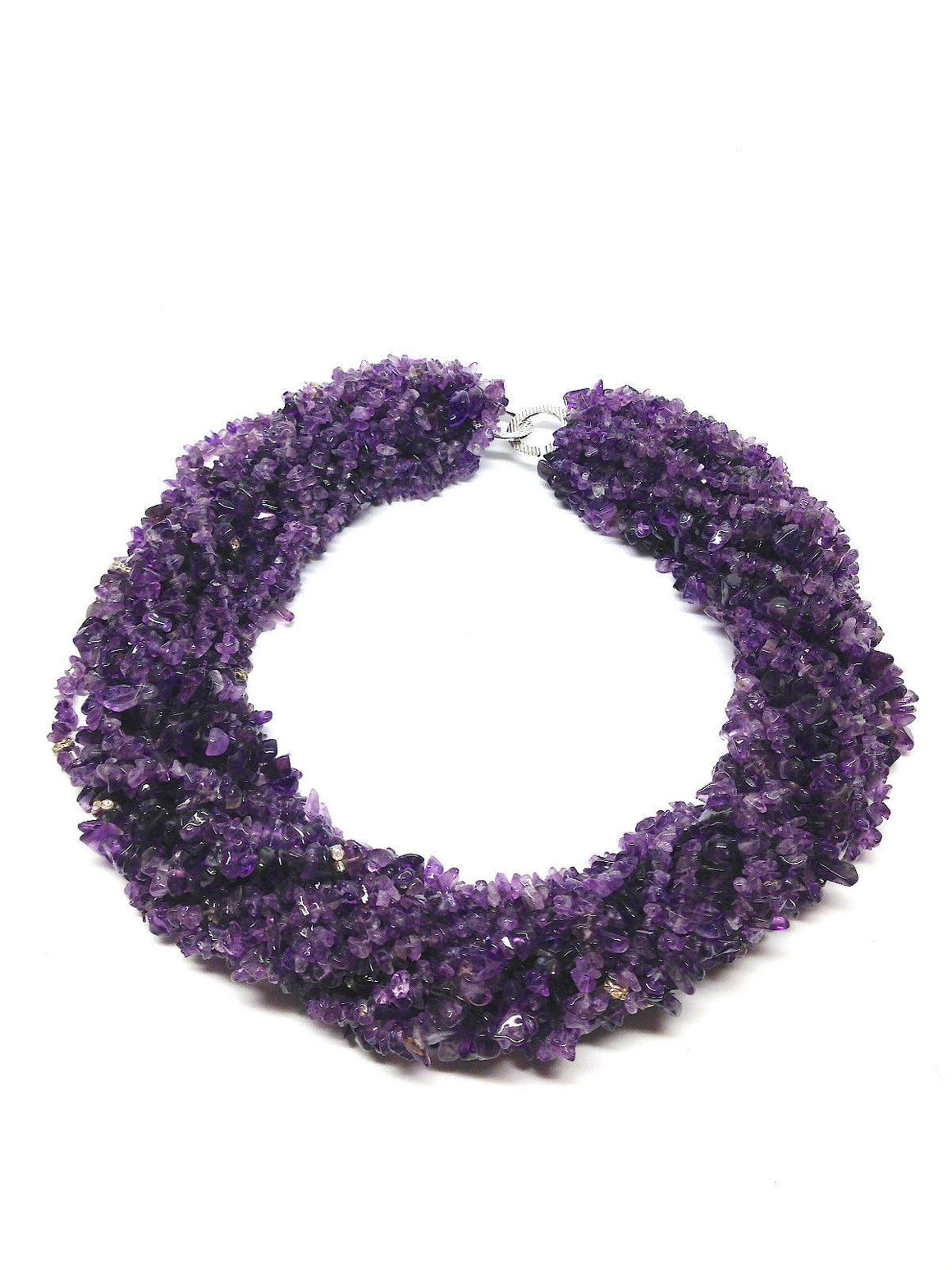 bisbiz.com DESIGNER Thousand AMETHYST Chips & Rhinestone Rondels  Statement Necklace/Torcade - Bis Luxury Resale