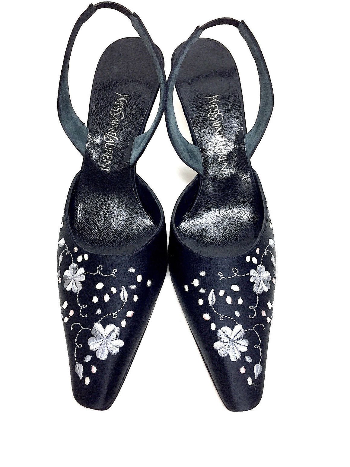YVES ST. LAURENT - YSL  New  Black Floral Embroidered Silk Slingbacks  Size: 7.5M