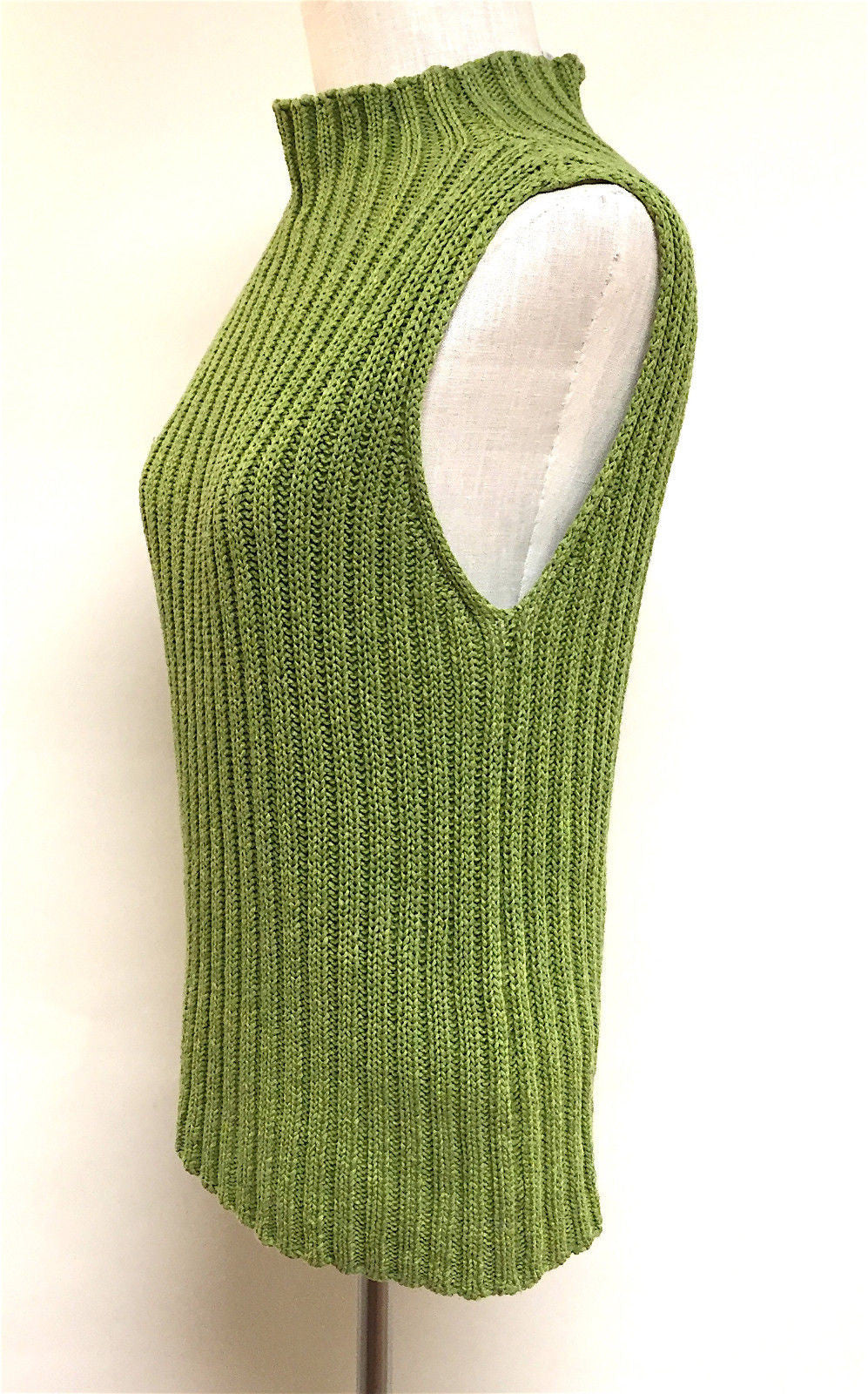 bisbiz.com MAX MARA  Fern-Green Rib-Knit Cotton Sleeveless Moc-Turtleneck Sweater Top Size: M - Bis Luxury Resale