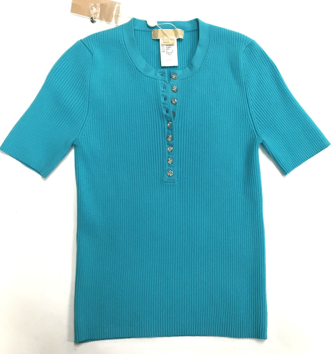 bisbiz.com MICHAEL KORS  New with Tags Turquoise Cotton-Blend Short-Sleeve Top Size: L - Bis Luxury Resale