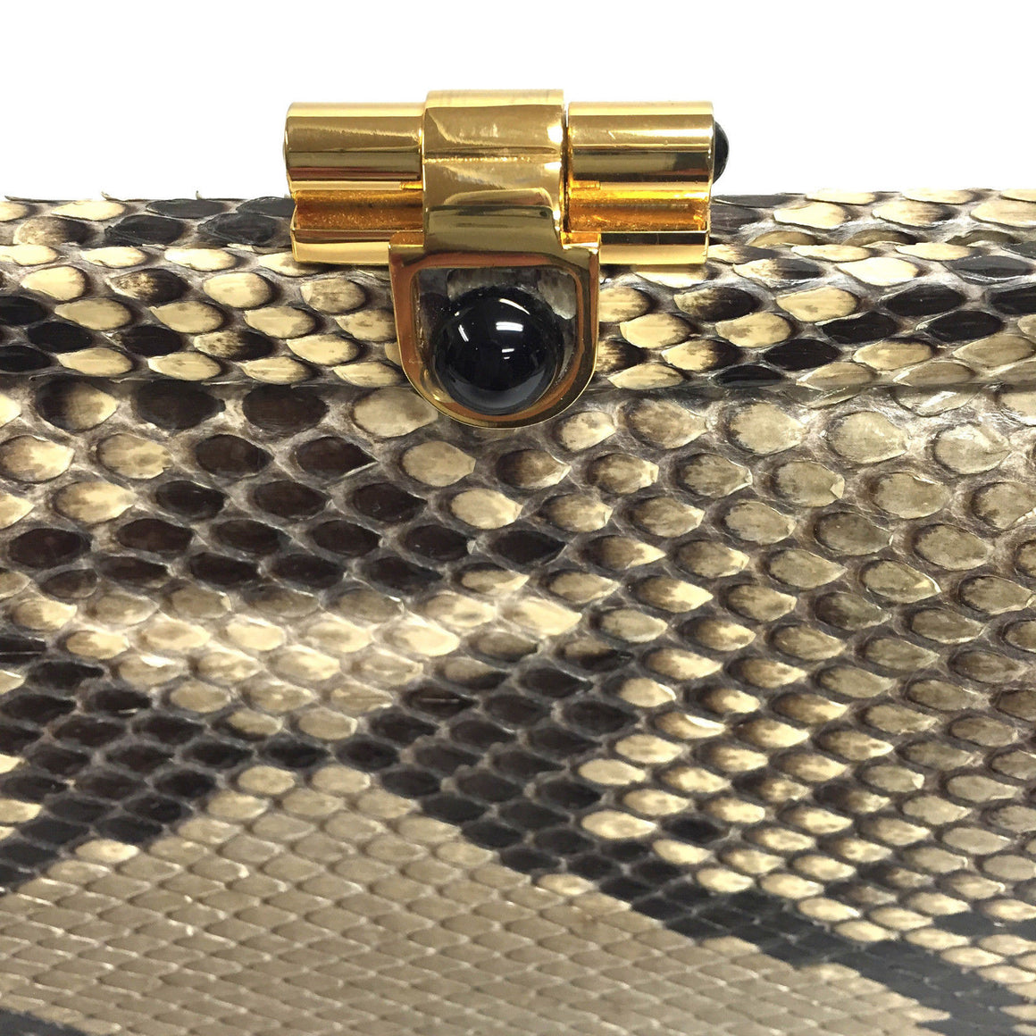 bisbiz.com JUDITH LEIBER Vintage Python Skin Self Adjustable Strap Evening Frame Bag - Bis Luxury Resale