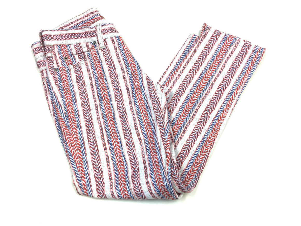 bisbiz.com ISABEL MARANT Etoile Red/White/Blue Chevron Cotton-Blend Cropped Skinny Jeans Size: 36/4 - Bis Luxury Resale