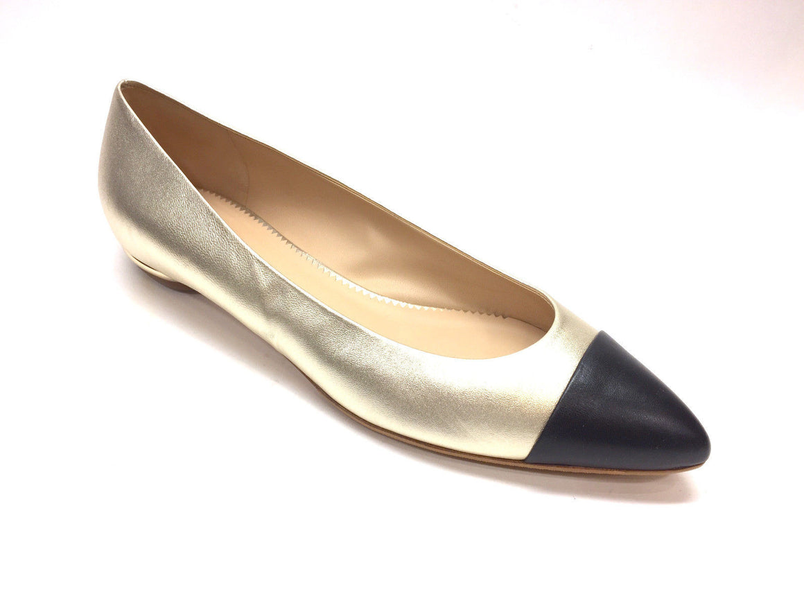 bisbiz.com CHANEL Gold Leather Black Pointed Cap Toes Spectator Flats Shoes  Size: IT 40.5 / US 10 - Bis Luxury Resale