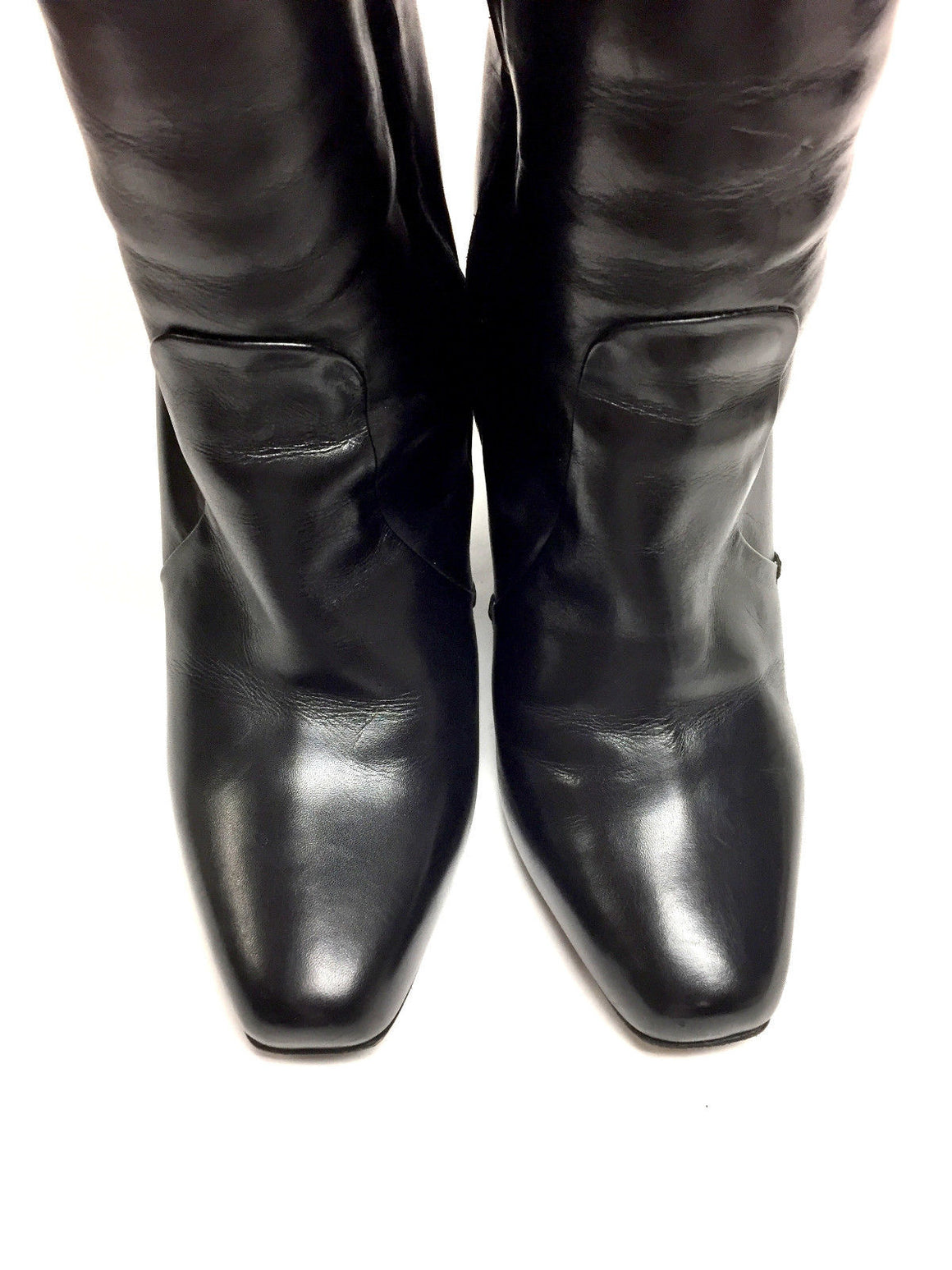 bisbiz.com CALVIN KLEIN COLLECTION Black Leather Patent Leather Wedge Heels Tall Boots Size: 36/6 - Bis Designer Resale
