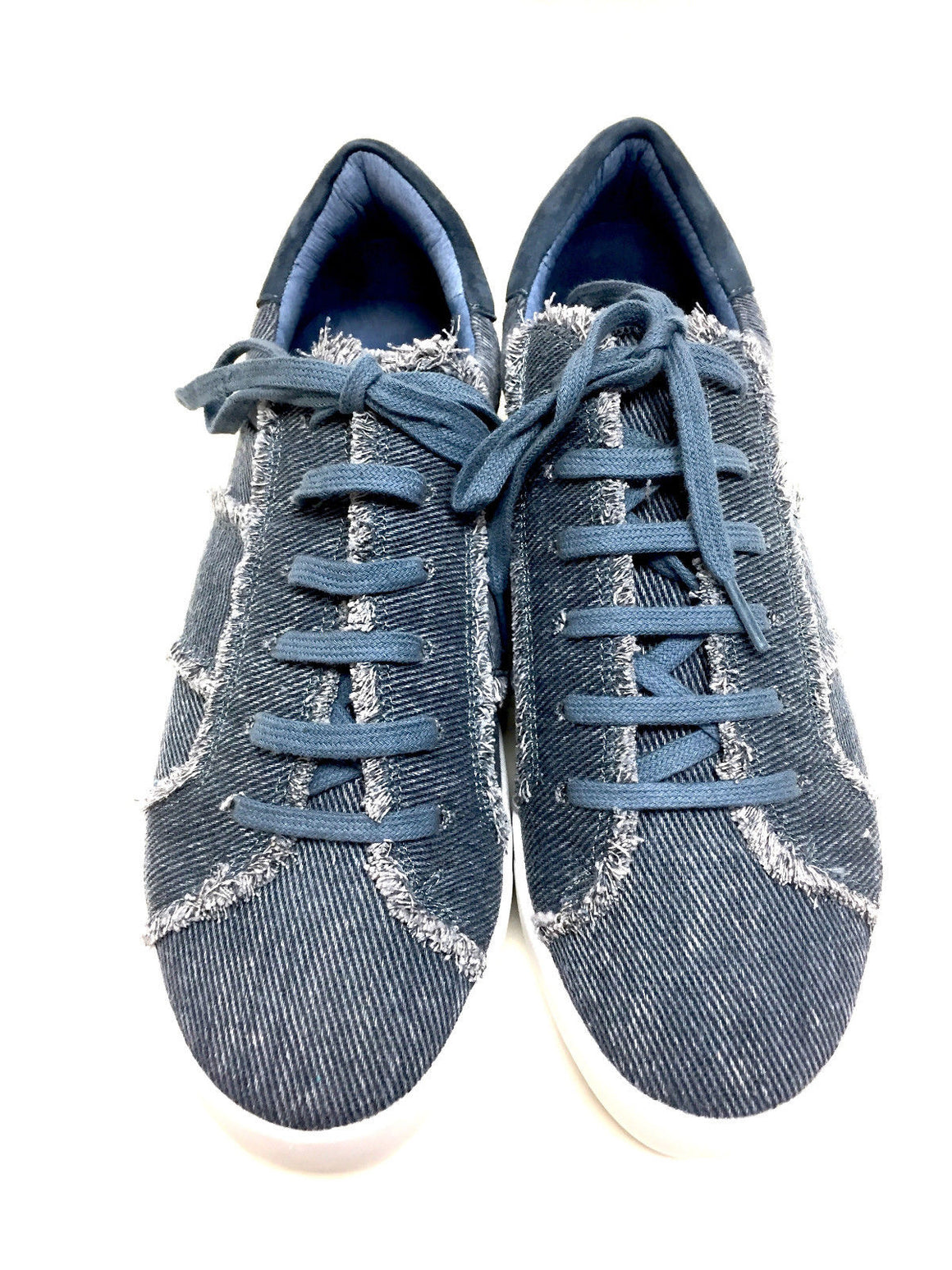 "JOIE Dark-Blue Frayed Denim ""DAKOTA"" Sneakers Shoes Size: 7.5"