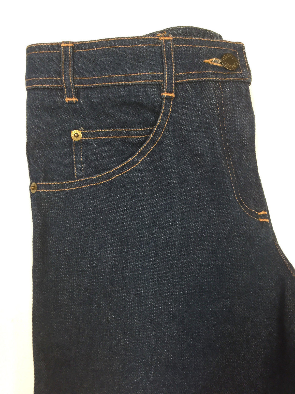 bisbiz.com CHLOE Dark-Blue Cotton Denim Mid-Rise Straight-Wide Leg Jeans Size: 38 France /US 6 - Bis Luxury Resale