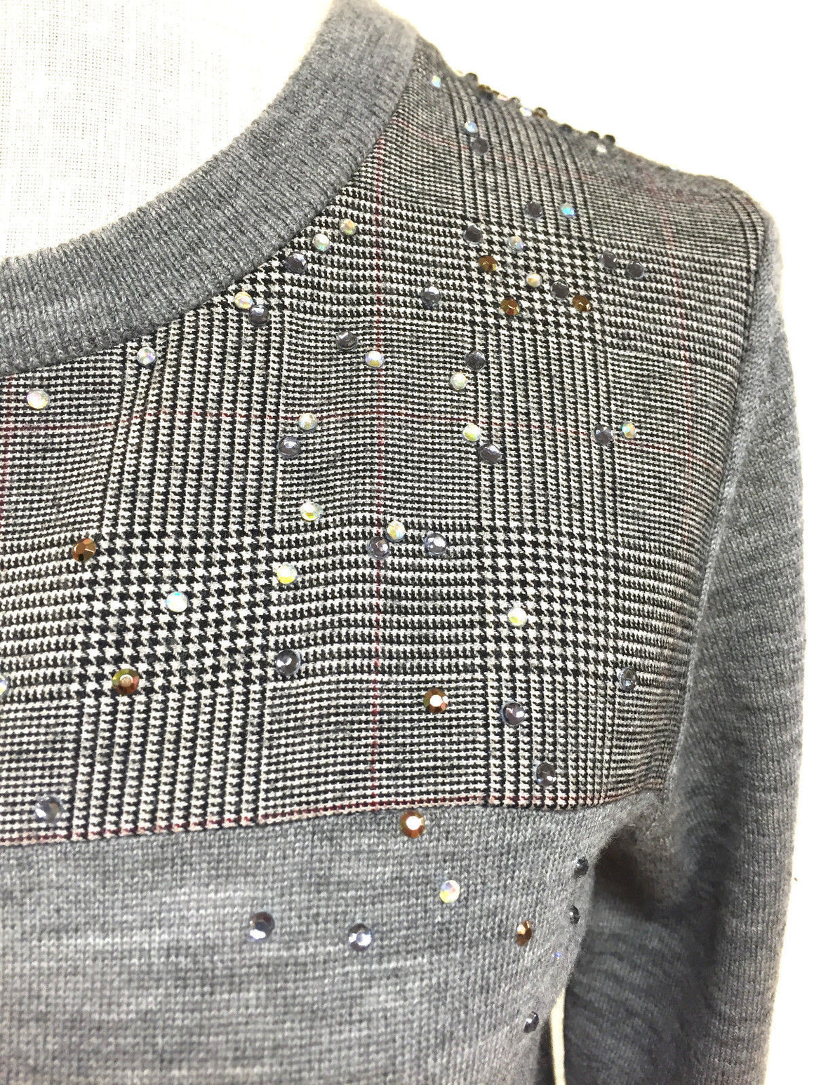 bisbiz.com J. CREW New with Tags Gray Merino Wool Glen Plaid Yoke Crystal Embellished Sweater Top Size: Small - Bis Luxury Resale