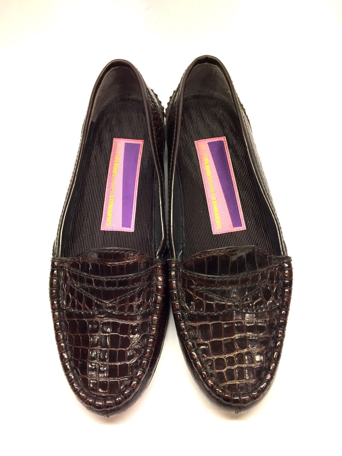 bisbiz.com SUSAN BENNIS / WARREN EDWARDS   Brown Croc Skin Flat Penny Loafers Shoes  Size: 6 - Bis Luxury Resale
