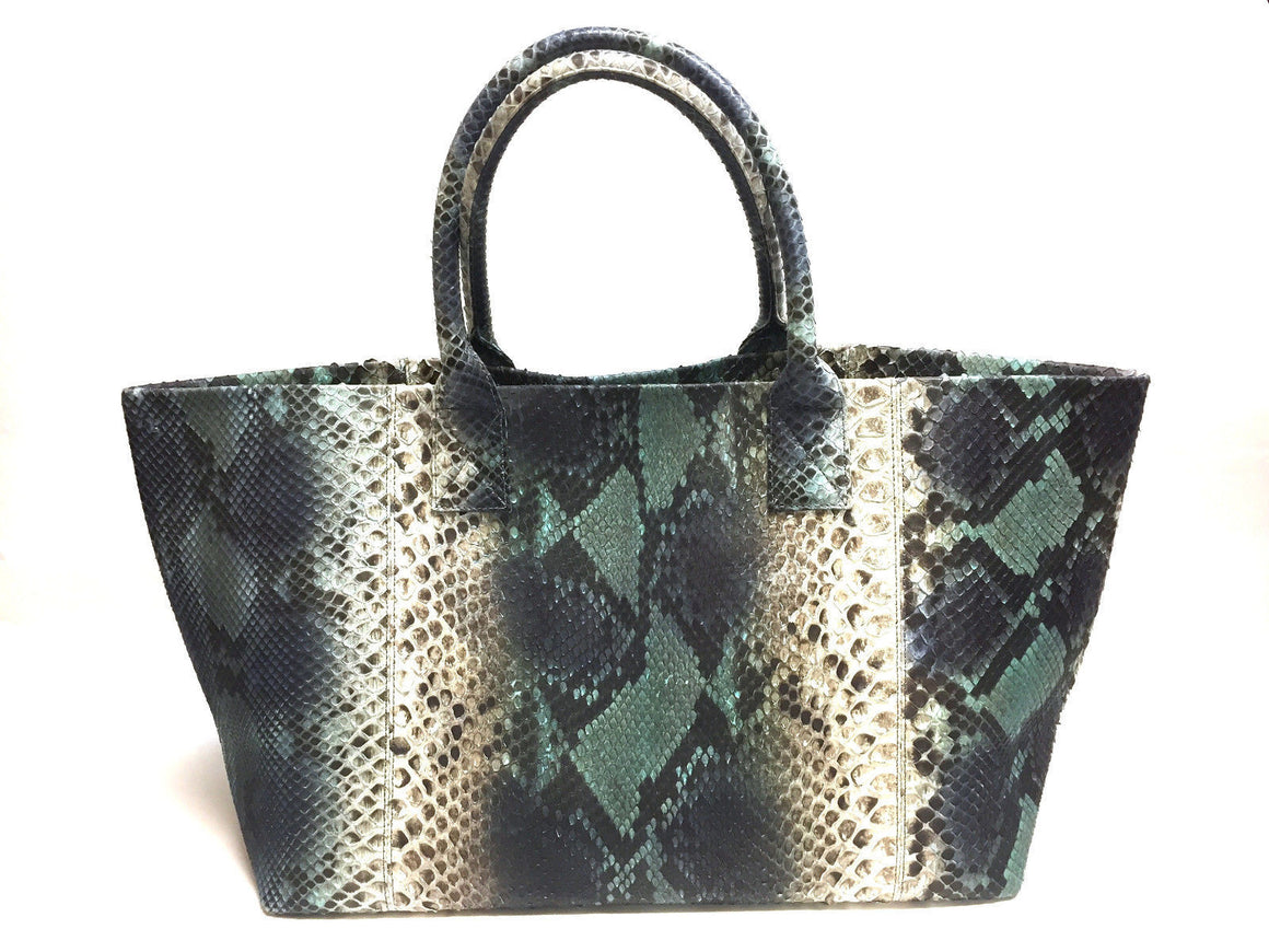 bisbiz.com W. H. PETRONELA Turquoise Brown Beige Python Large Tote Bag & Purse - Bis Luxury Resale