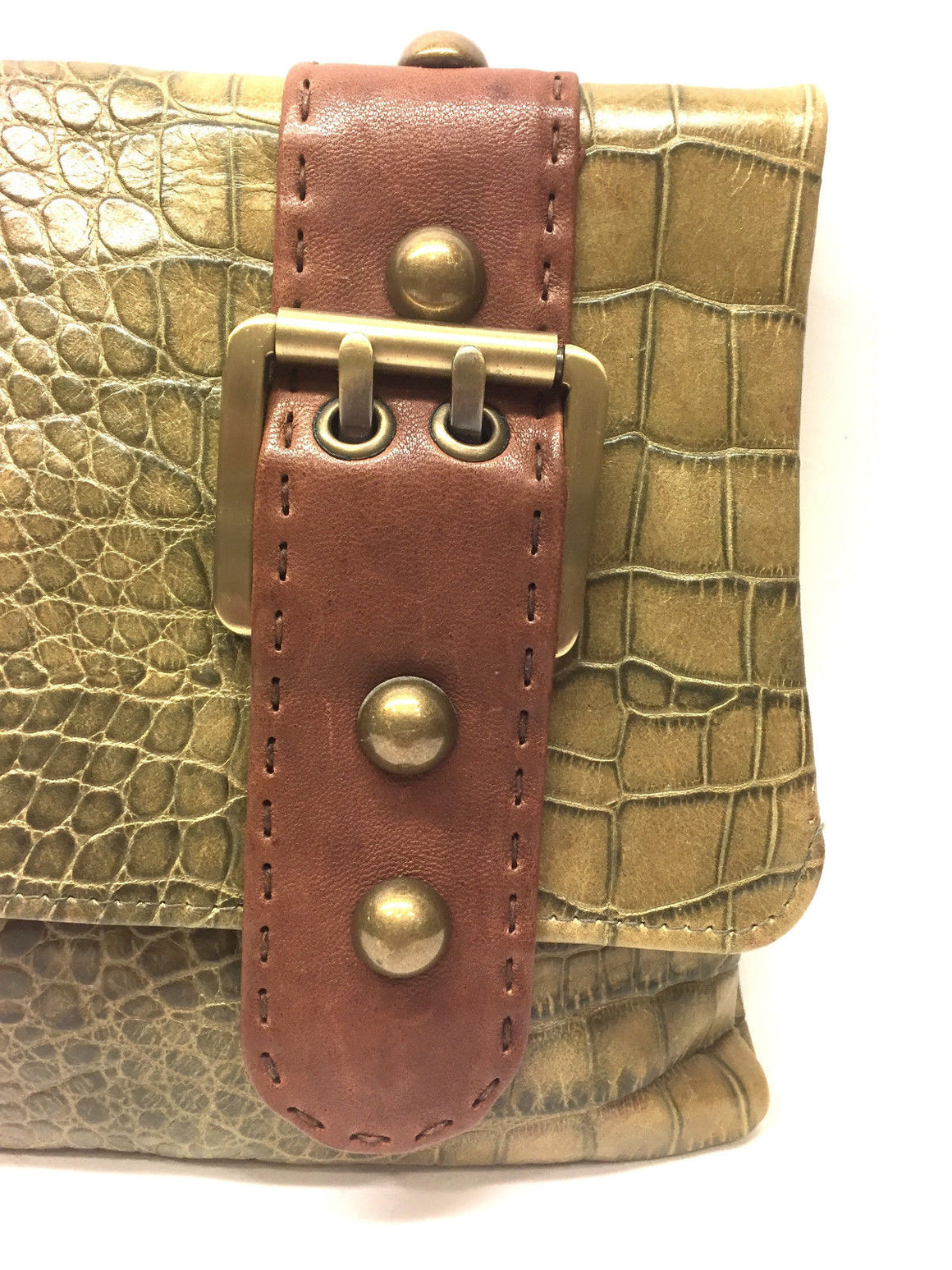 bisbiz.com CARLA MANCINI Moss-Green Croc-Patterned Leather Fold-over Clutch Bag Purse - Bis Luxury Resale