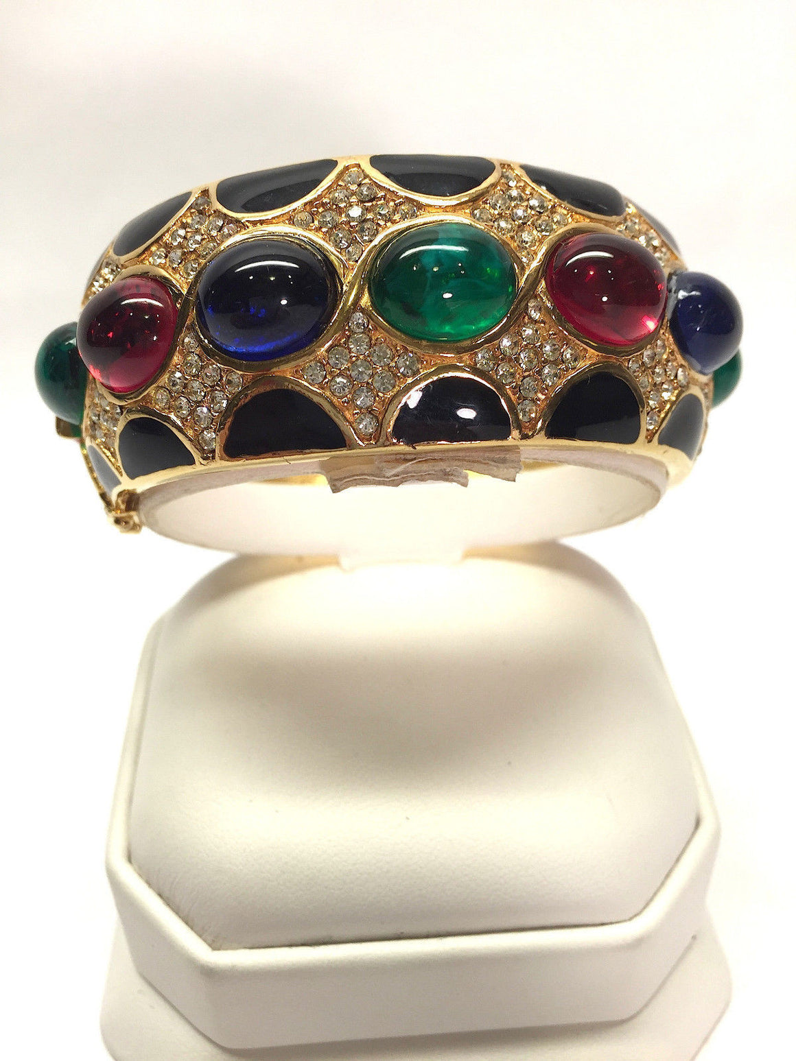 bisbiz.com CINER Vintage Clear Crystal-Pave Ruby Emerald Sapphire Cabochon Glass Stones Bangle Bracelet - Bis Luxury Resale