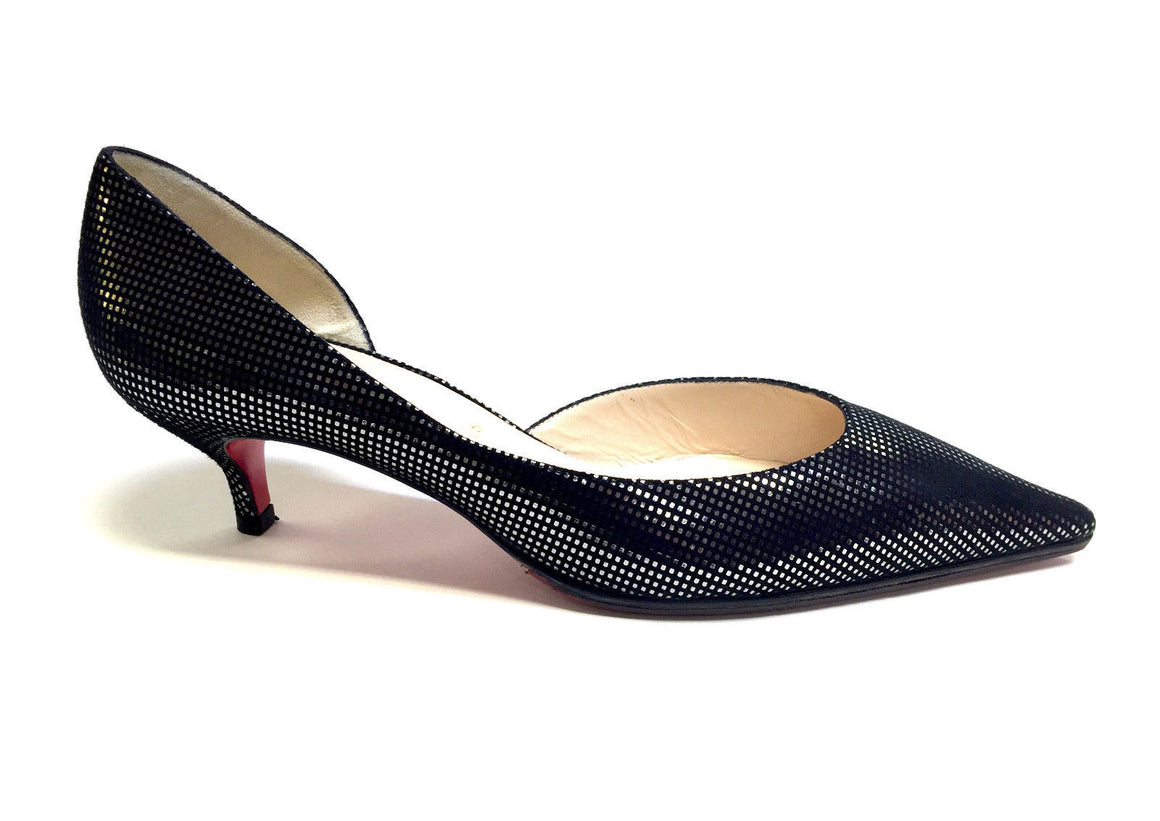 bisbiz.com CHRISTIAN LOUBOUTIN  Black Suede Silver Glitter Pointed-Toe  Kitten Heel Pumps  Size 40/10 - Bis Luxury Resale