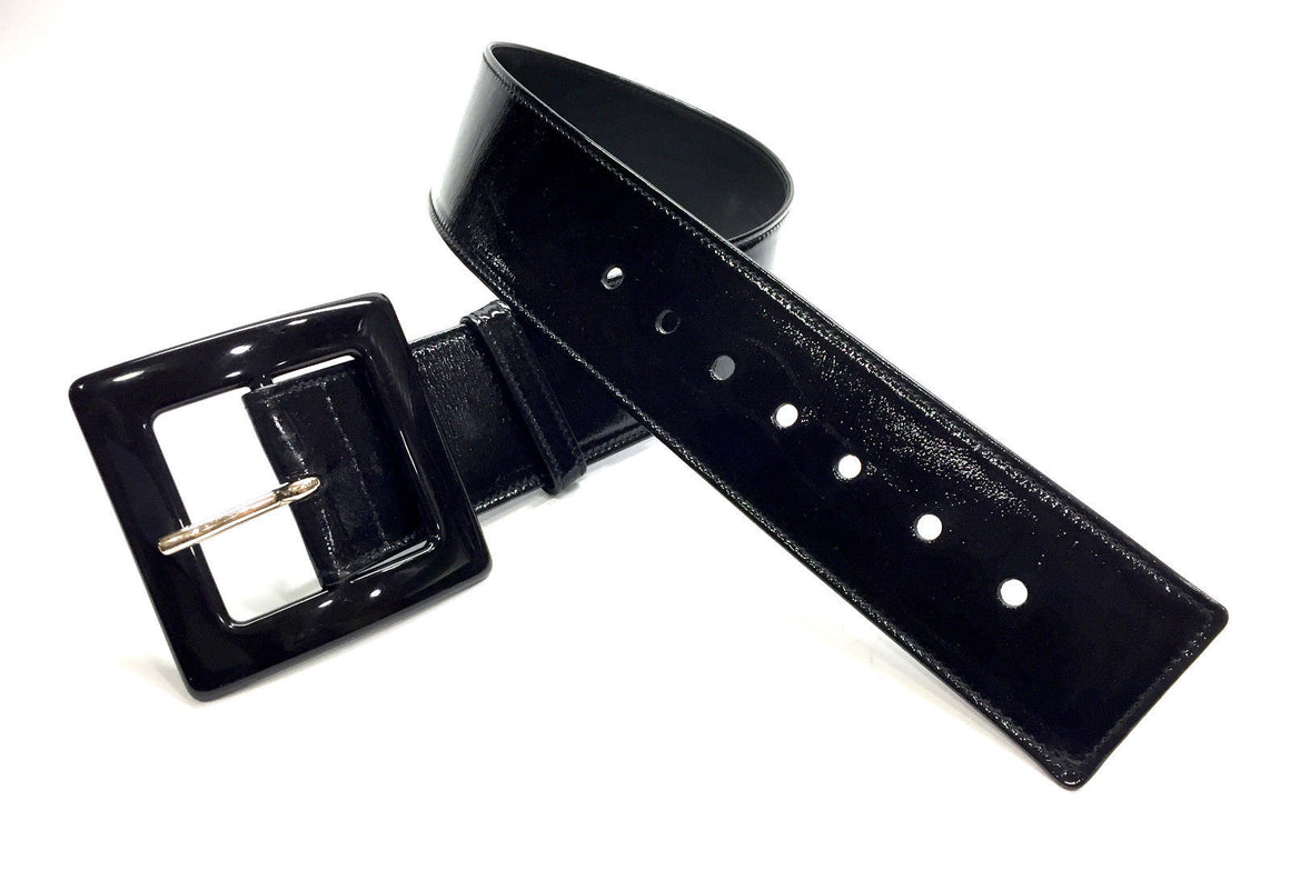 YVES ST. LAURENT Black Patent Leather Black Acrylic Buckle Wide Waist Belt Size: 80 / 32