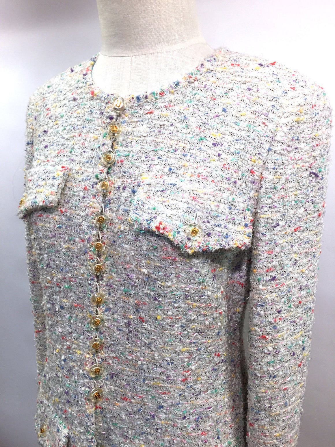 bisbiz.com CHANEL  White/Multicolor Iridescent Fantasy Tweed Coat w/Silk Print Lining  Size: Fr42/US8 - Bis Luxury Resale