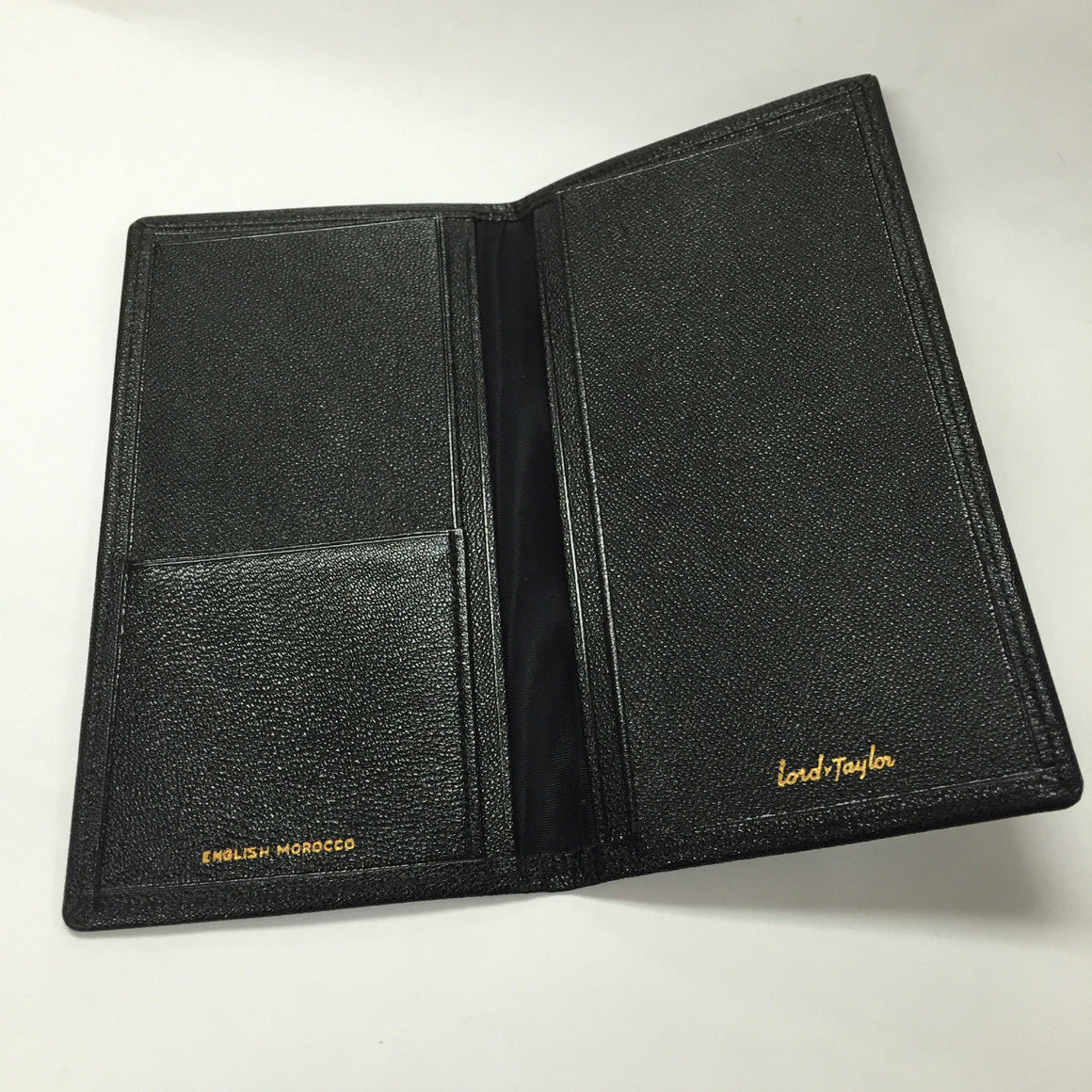 bisbiz.com ENGLISH MOROCCO   for LORD & TAYLOR Black Grained Goat Skin Bifold Wallet / Checkbook Cover Unused - Bis Luxury Resale