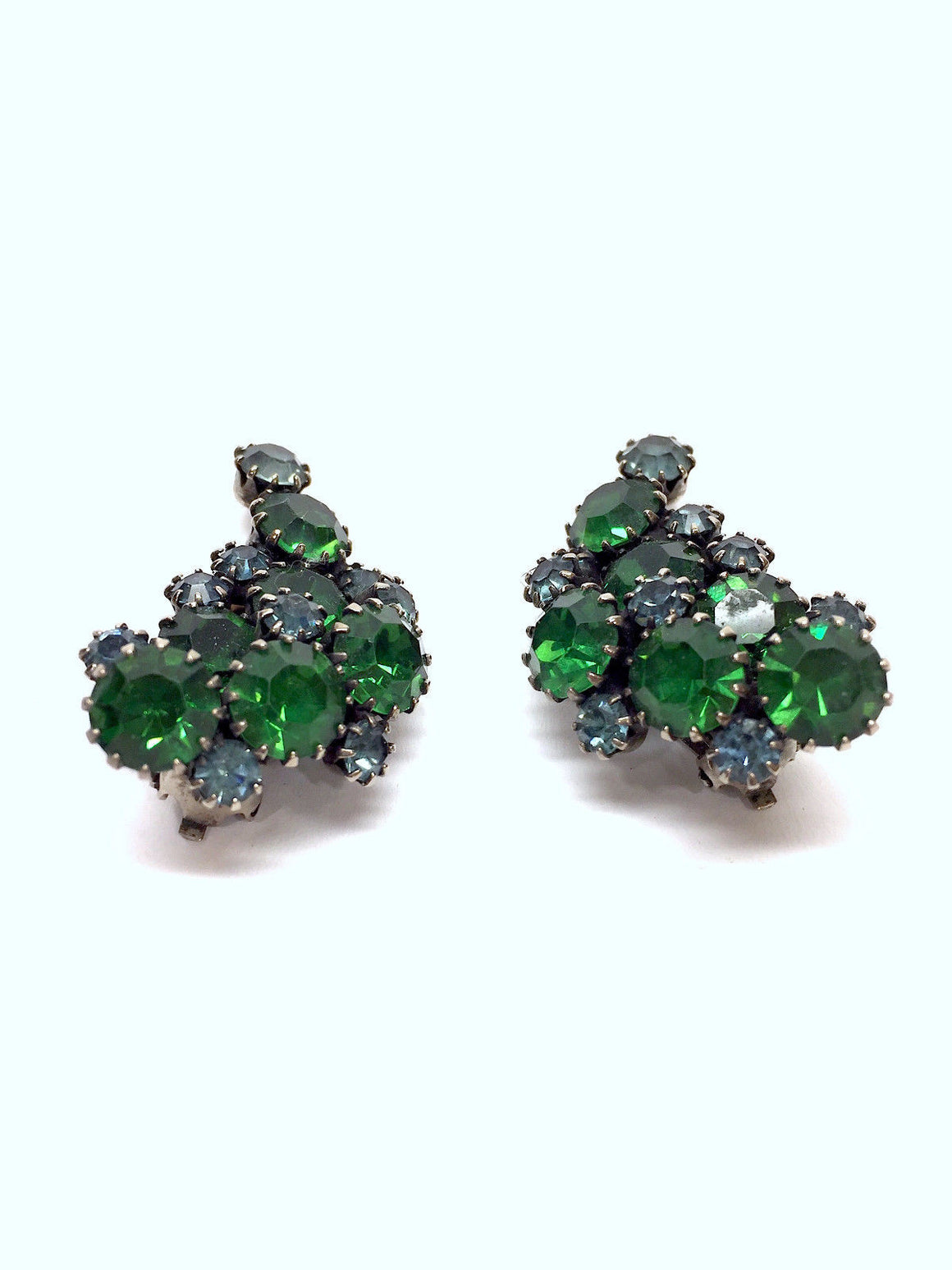 bisbiz.com KRAMER VINTAGE Emerald-Green Aqua-Blue Crystal Paisley Climber Clip Earrings - Bis Luxury Resale