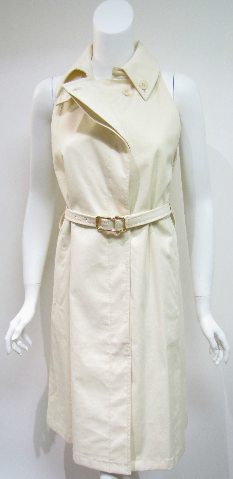 bisbiz.com STELLA McCARTNEY  Fabulous Cream Cotton Sleeveless Belted Trench Coat  Size EU40 /US 6 - Bis Luxury Resale