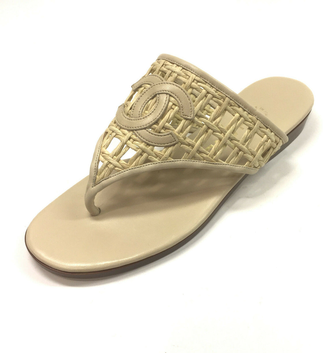CHANEL Beige Basketweave Cord Leather CC Flat Thong Sandals Size: EU 37 / US7