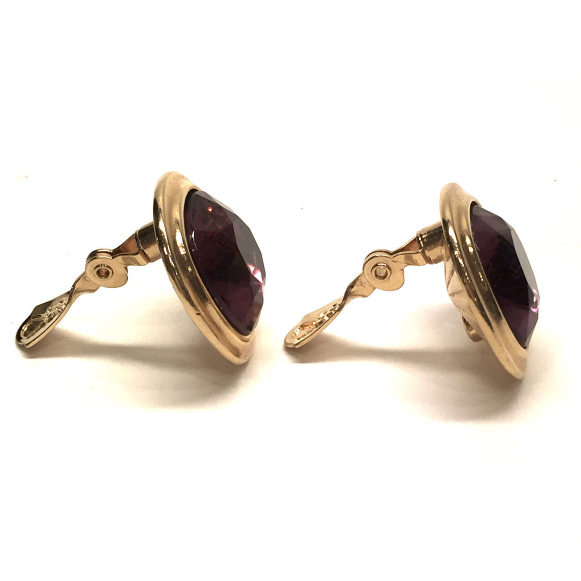 bisbiz.com YVES ST. LAURENT YSL   Vintage Gilt Metal Purple Faceted Crystal Clip-On Earrings - Bis Luxury Resale