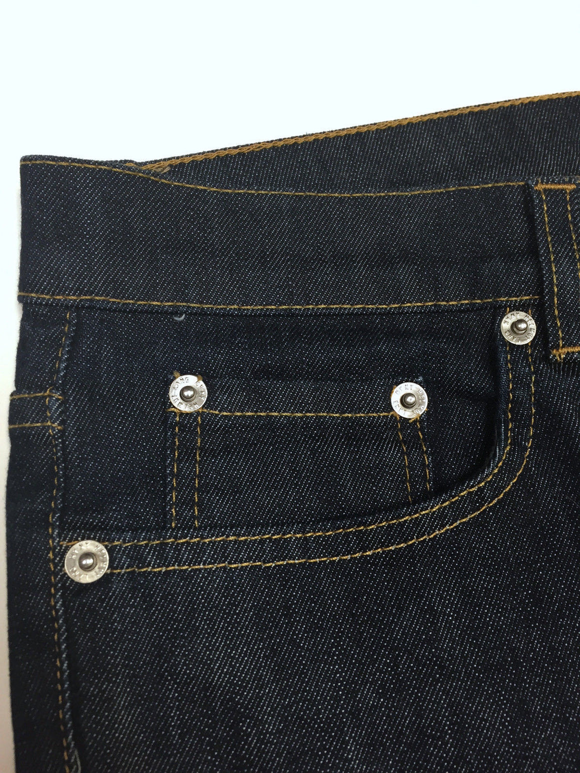 bisbiz.com HELMUT LANG Dark Blue Elastic Denim Low-Waist Slim-Leg Cropped Jeans Pants Size: Small - 27 - Bis Luxury Resale