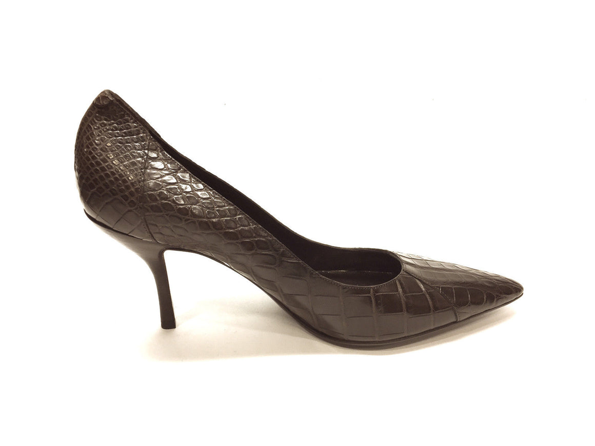 bisbiz.com CHANEL New Brown Croc Skin Classic Heel Pumps Size: 41 / 10.5 - Bis Luxury Resale