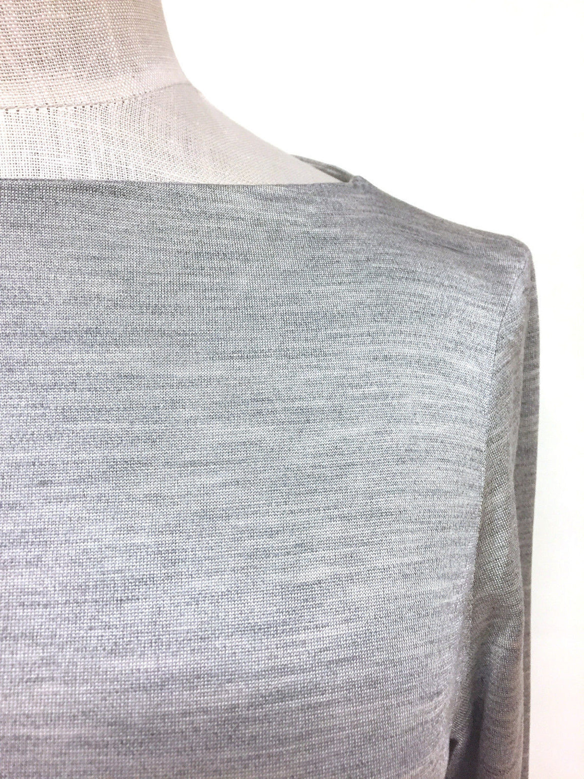 bisbiz.com HERMES Silver-Gray Silk Long Sleeve Double-Face Knit T-Shirt Top Blouse Size: 36 - Small - Bis Designer Resale