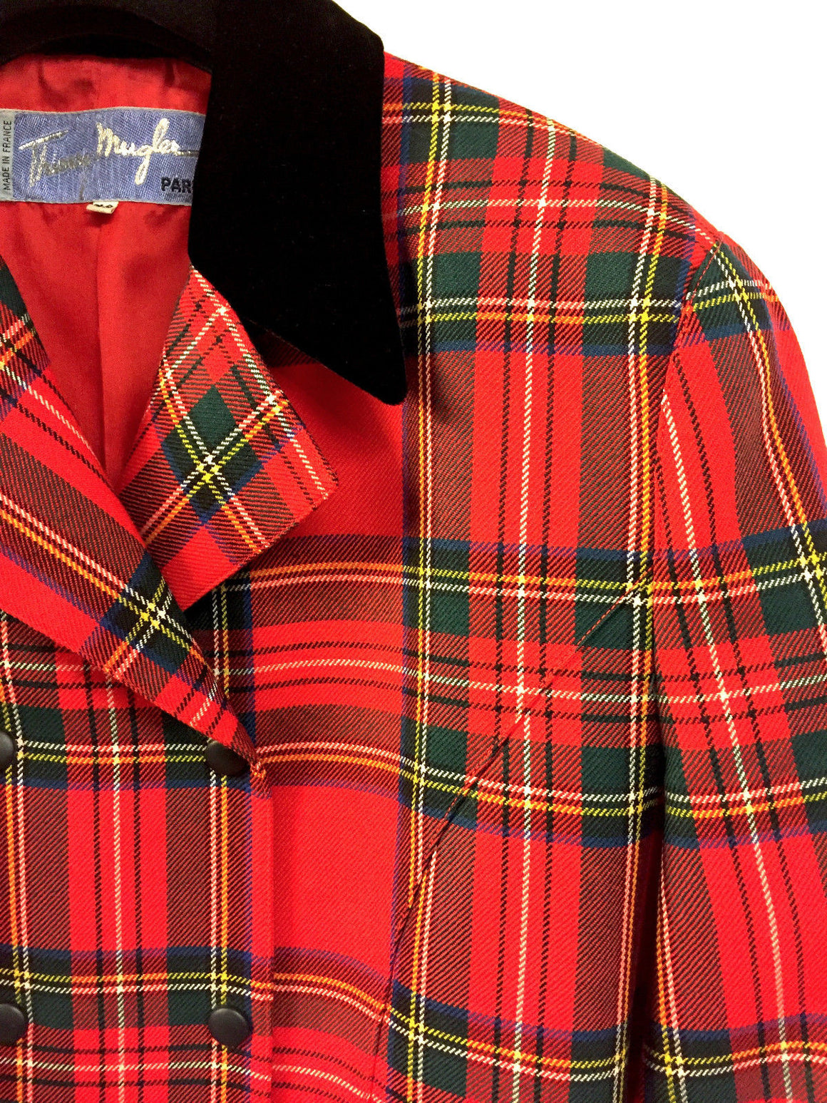 THIERRY MUGLER Vintage Red/Multicolor Plaid Wool Black Velvet Accents Jacket  Size: Fr42 / US10