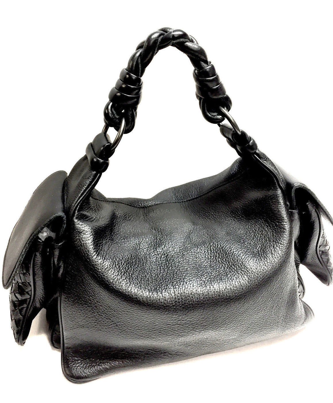 bisbiz.com BOTTEGA VENETA  Black Caviar Leather Intreciatto Pockets Braided Strap  Hobo Shoulder Hand Bag - Bis Luxury Resale