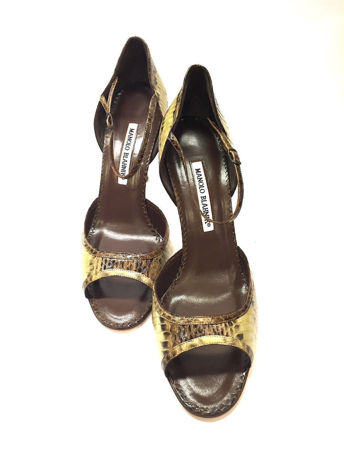 bisbiz.com MANOLO BLAHNIK Brown/Olive Python Peep-Toe Ankle-Strap Heel Pumps Shoes  Size: 39.5 / 9.5 - Bis Luxury Resale