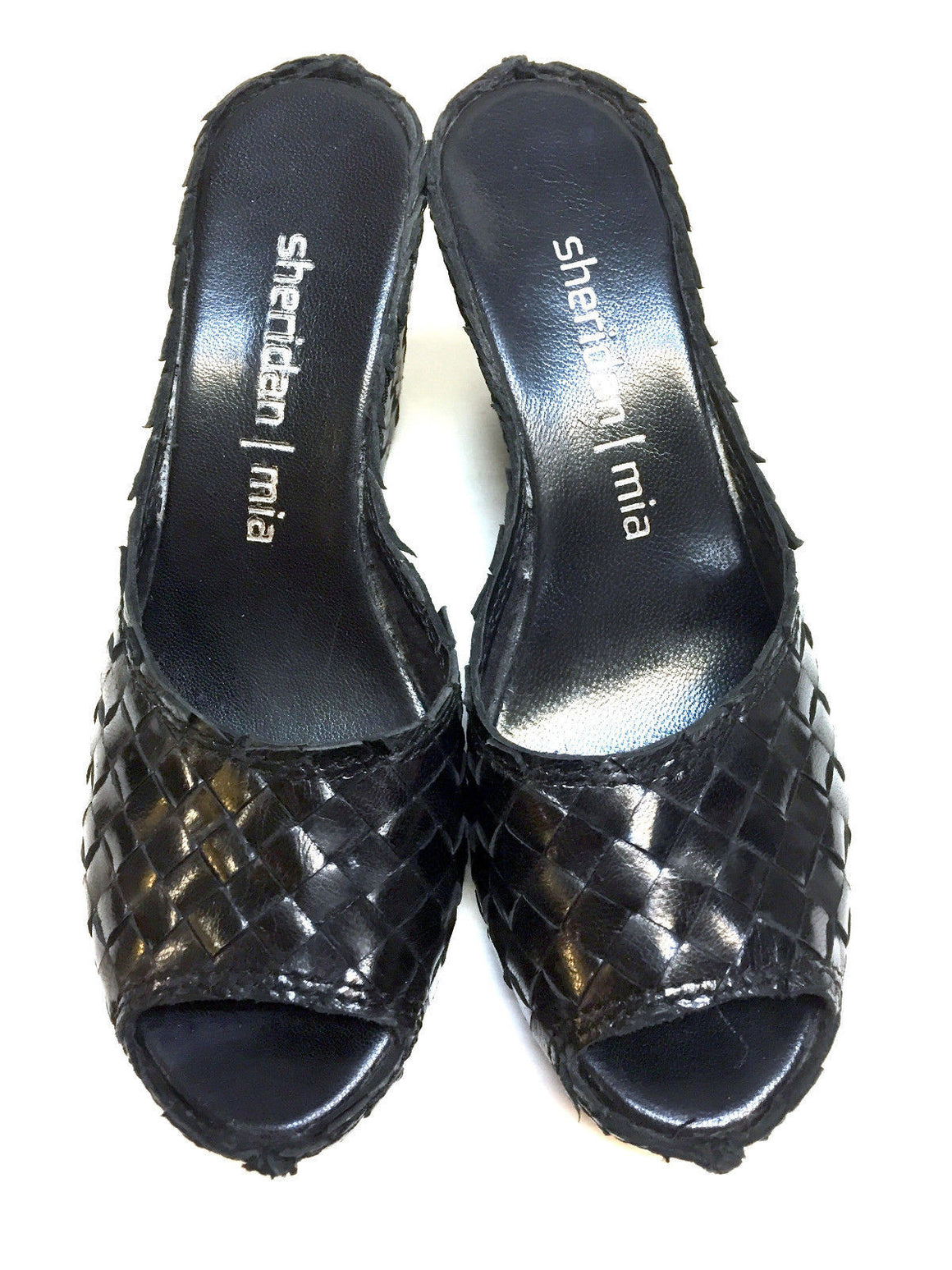 bisbiz.com SHERIDAN/MIA   Black Basketweave Leather Wedge Heel Platform Slip-On Mules Shoes  Size: 37 / 7 - Bis Luxury Resale