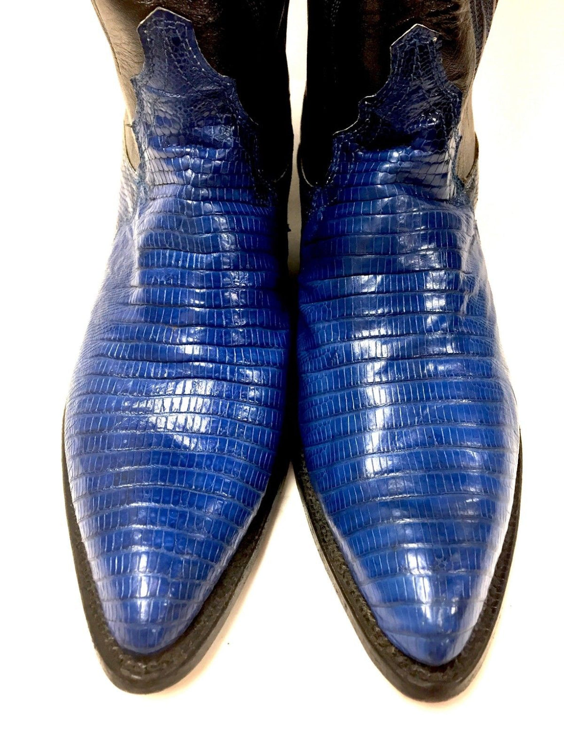 JUSTIN Black Leather Cobalt-Blue Lizard Skin  Women Cowboy Pull-On Boots Size: 7B