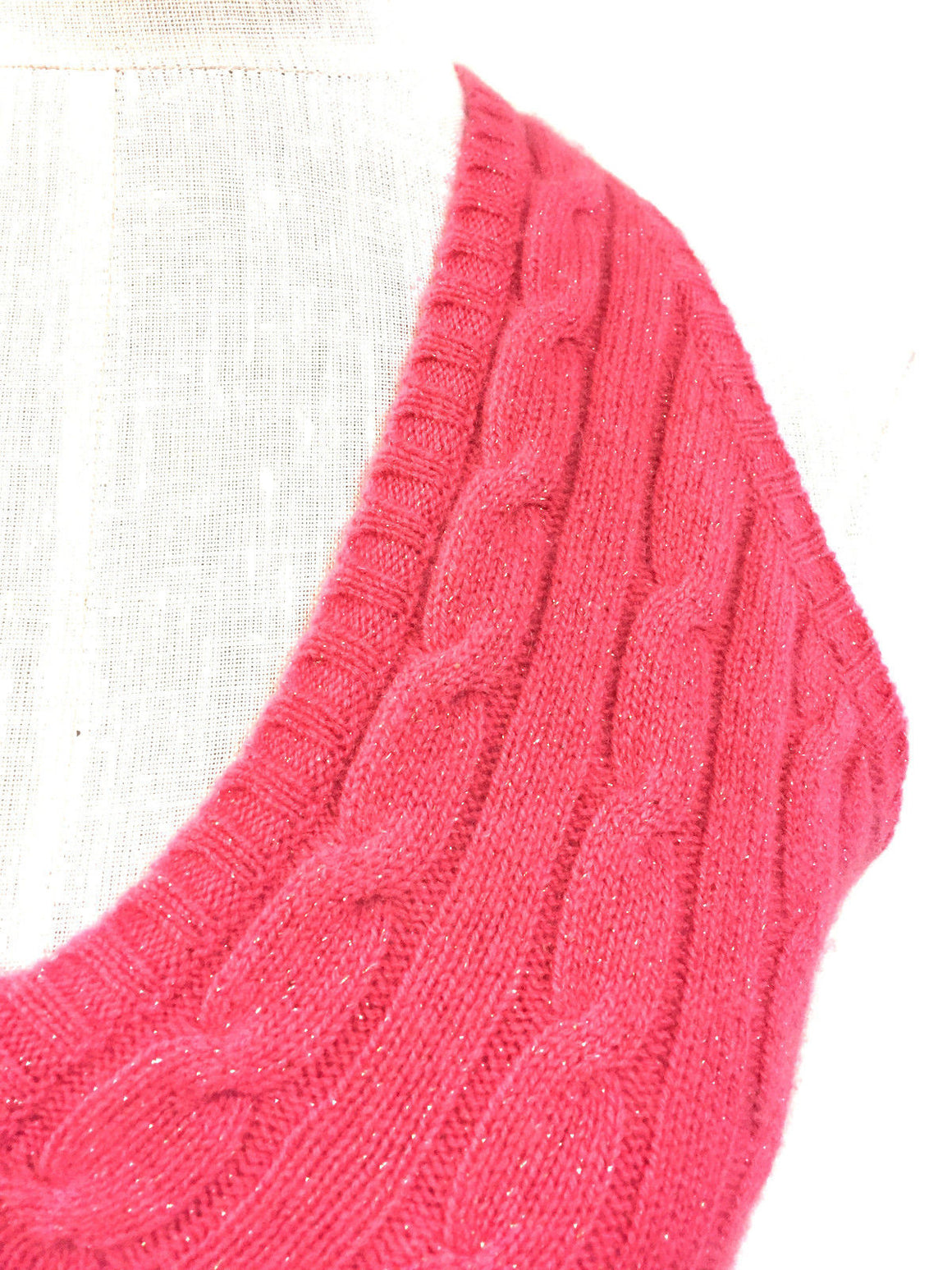bisbiz.com RALPH LAUREN Coral-Pink Cashmere Gold Shimmer Cable-Knit V-Neck Halter Sweater Top Size: Medium/Large - Bis Luxury Resale