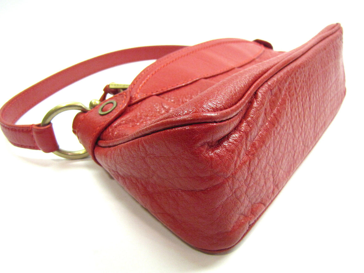 bisbiz.com MARC JACOBS  Red Grained Leather Zip-Top Shoulder Pochette Hand Bag - Bis Luxury Resale