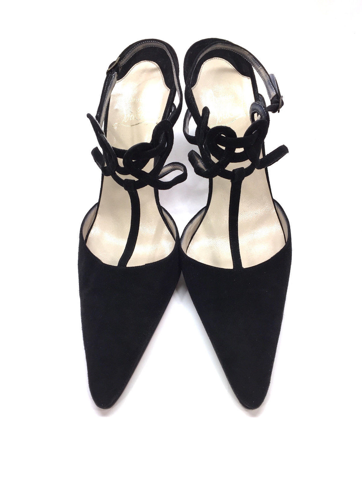 bisbiz.com CHRISTIAN LOUBOUTIN  Black Suede Scrolled Accent Ankle & T-Strap Heel Pumps Shoes  Size: 38 / 8 - Bis Luxury Resale