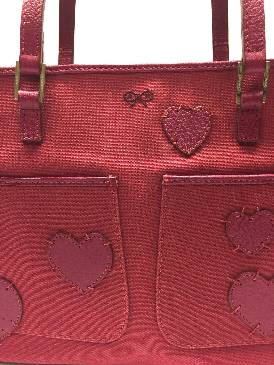 bisbiz.com ANYA HINDMARCH   Strawberry Pink Canvas Bag with Leather Hearts Accent - Bis Luxury Resale