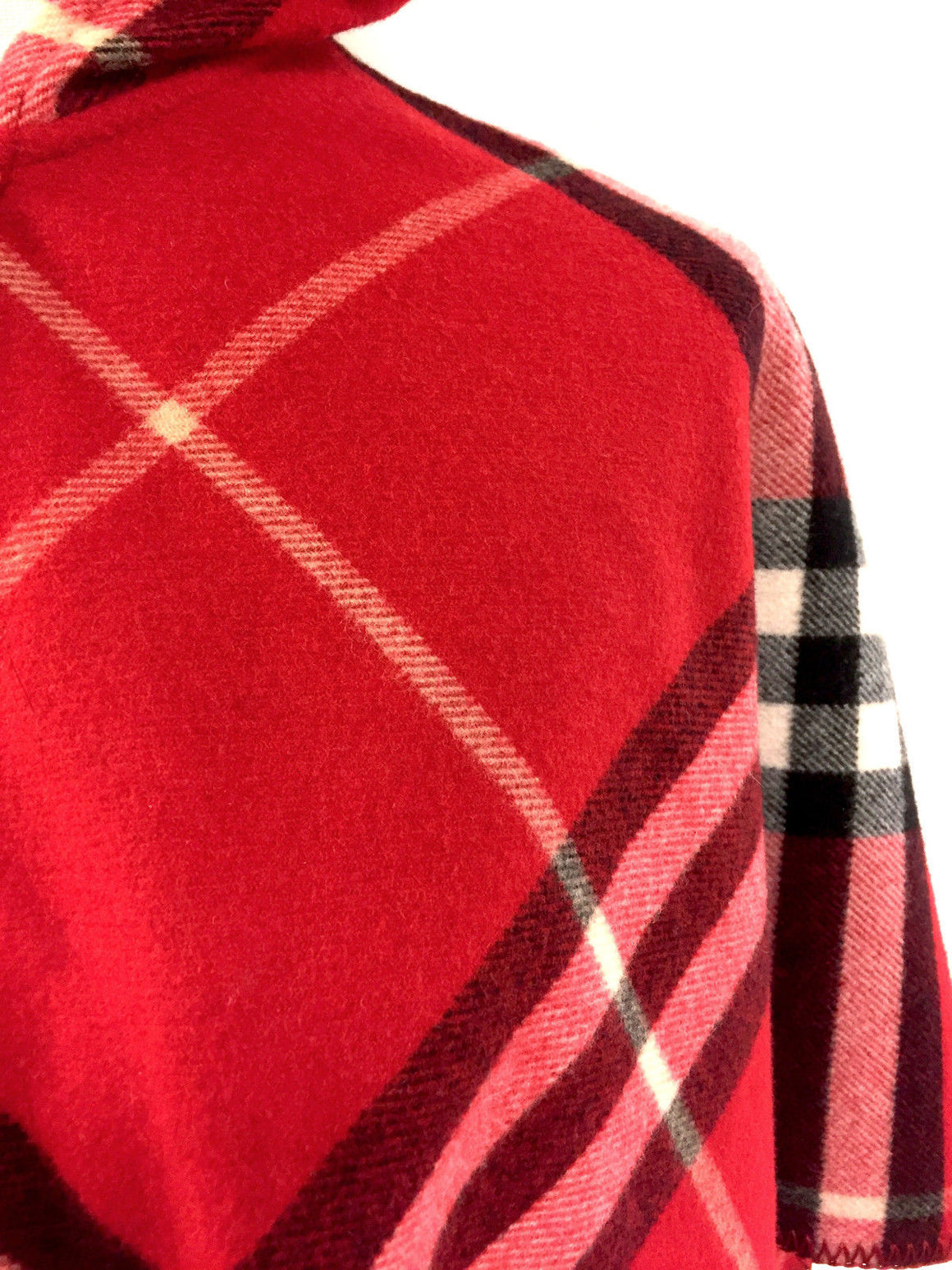 bisbiz.com BURBERRY   New with Tags Red White & Blue Nova-Plaid Wool & Cashmere Children's Cape Poncho  Size:  Medium - Bis Luxury Resale