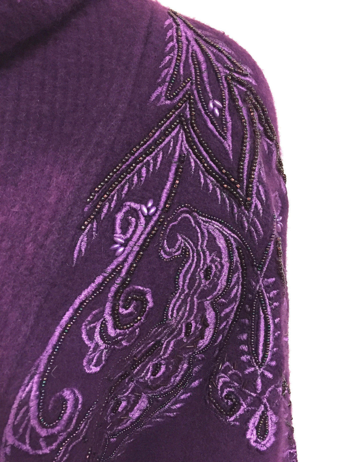 bisbiz.com EREZ Vintage Purple Wool/Angora Blend Beaded & Embroidered Bat-Wing Turtleneck Sweater Top Size: Large - Bis Luxury Resale