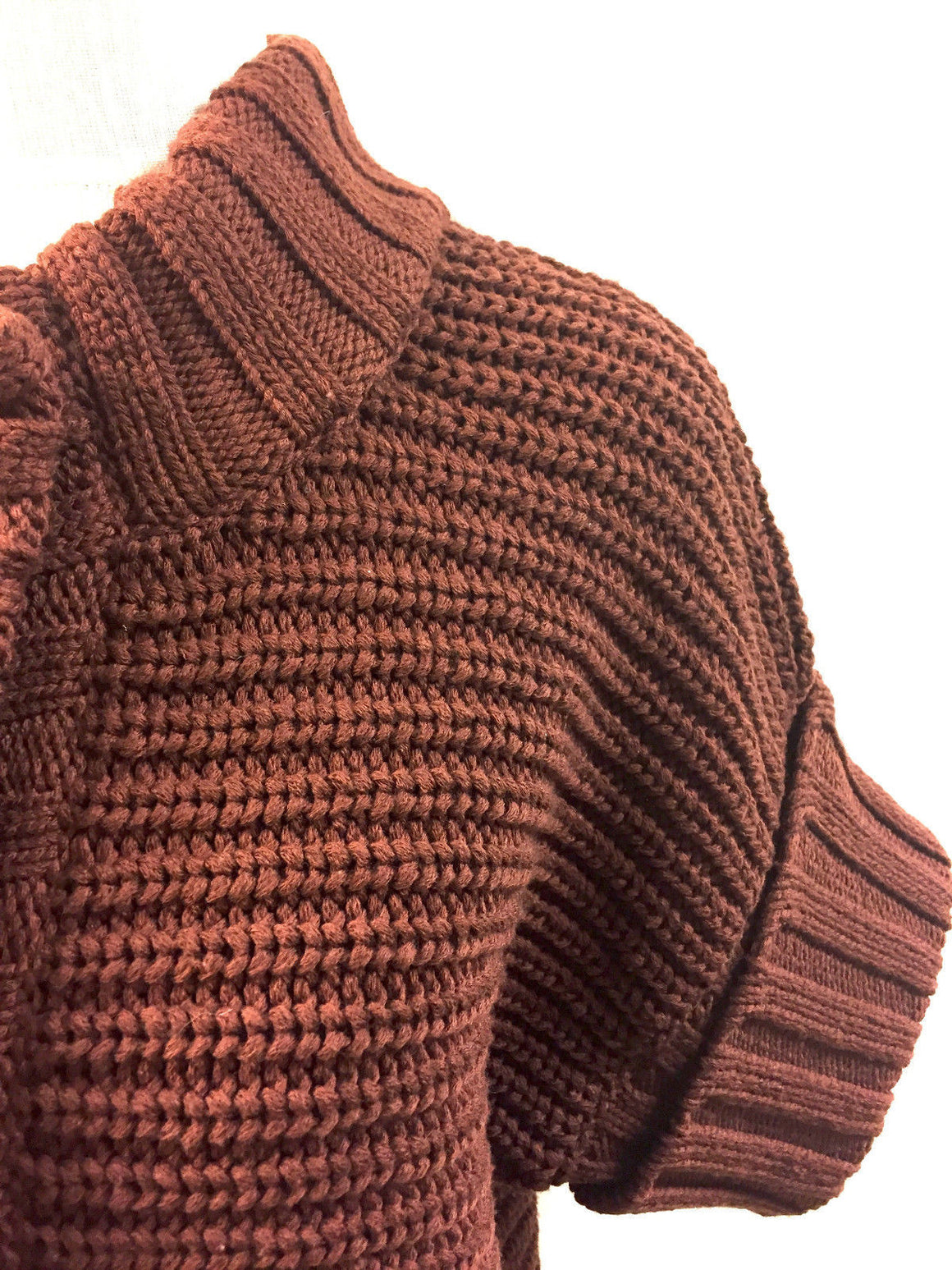 bisbiz.com MAX MARA Tobacco-Brown Rib-Knit Wool Short-Sleeves CroppedCardigan Sweater - Bis Luxury Resale