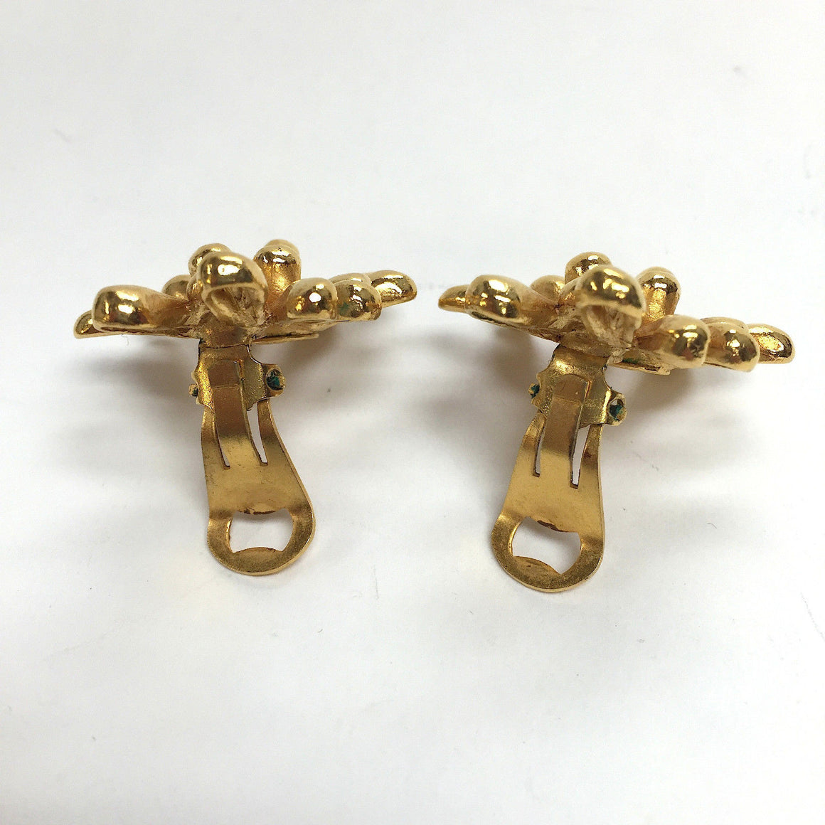 bisbiz.com CHRISTIAN LACROIX   Vintage Gilt Metal Anemone Flower Clip-on Statement Earrings - Bis Luxury Resale