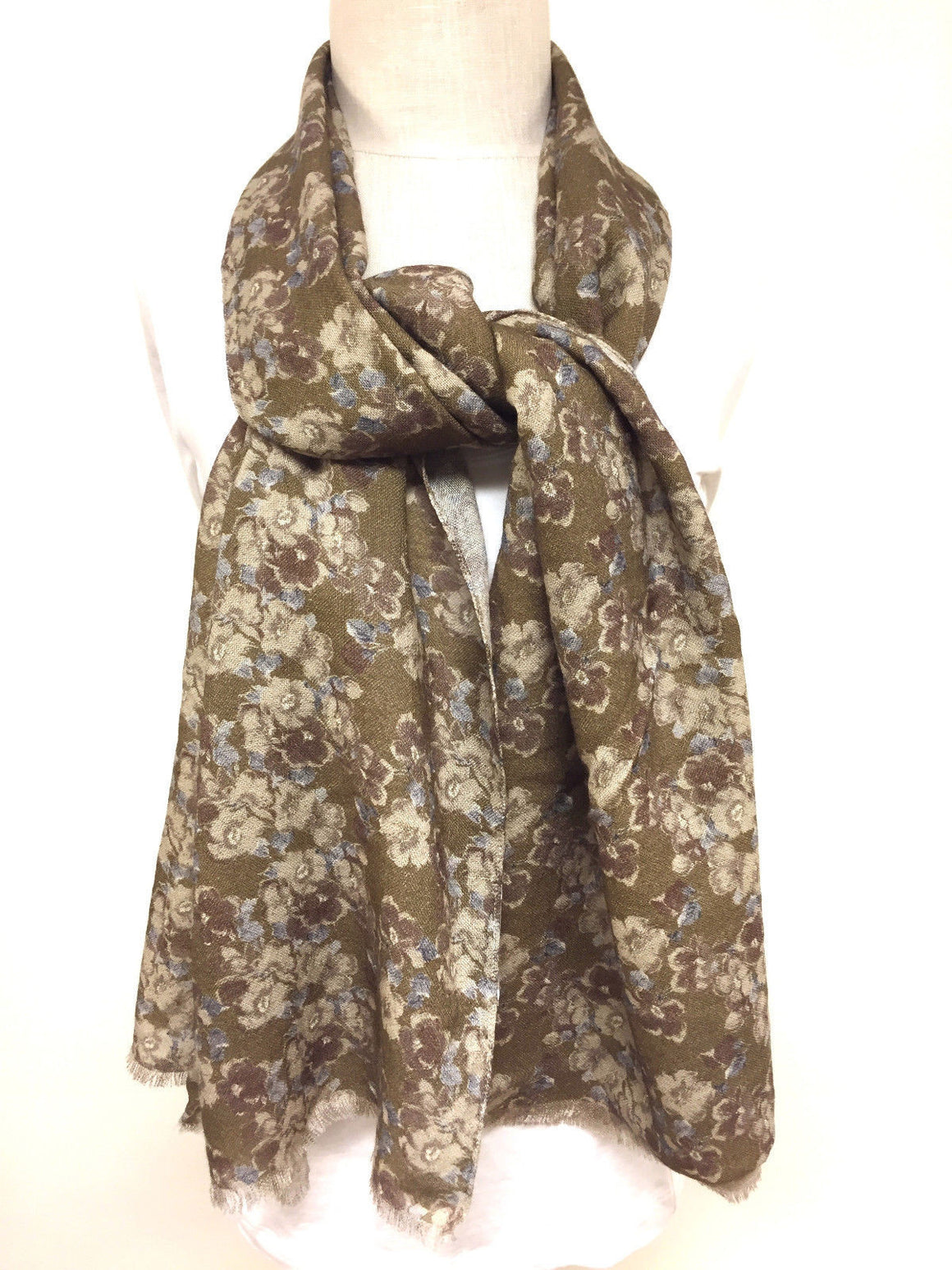 bisbiz.com ROBERT TALBOT NEW Brown/Multicolor Floral-Print Wool Shawl Scarf Wrap - Bis Luxury Resale