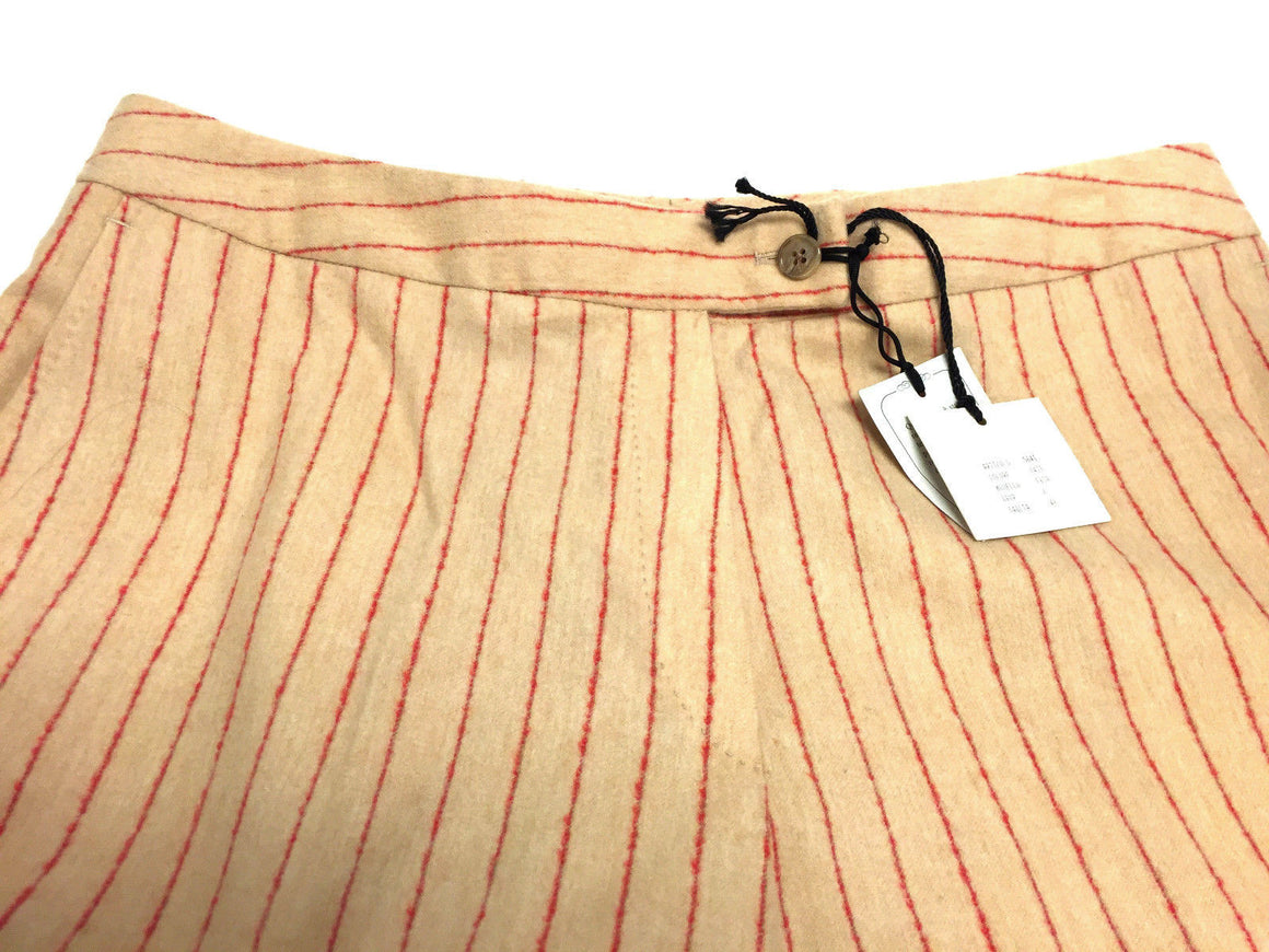 bisbiz.com DOMENICO VACCA Beige/Red Pinstripe Wool-Blend Straight-Leg Dress Pants Size 48 / 12-14 - Bis Luxury Resale