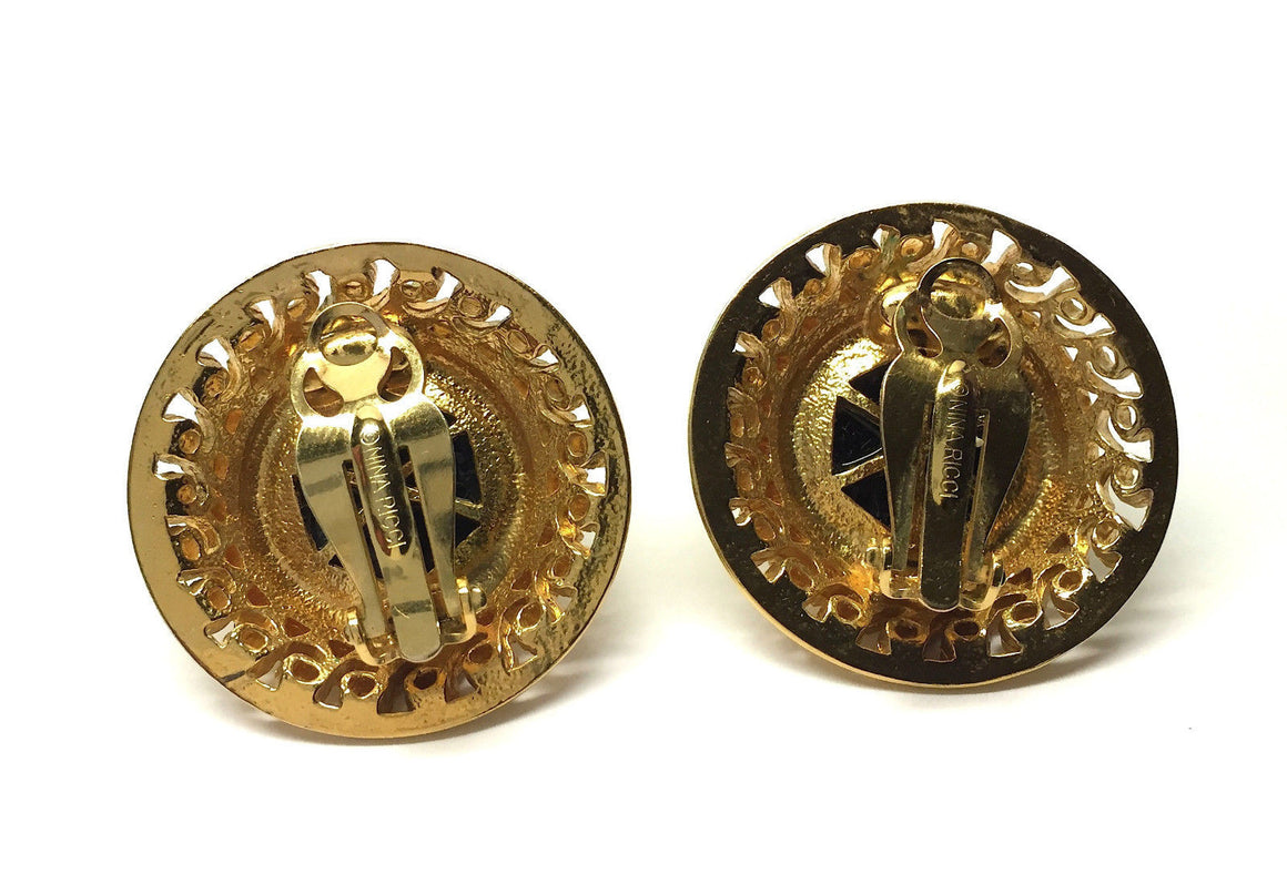 bisbiz.com NINA RICCI Gilt Metal Black Onyx Cabochon Clip-on Button Earrings - Bis Luxury Resale
